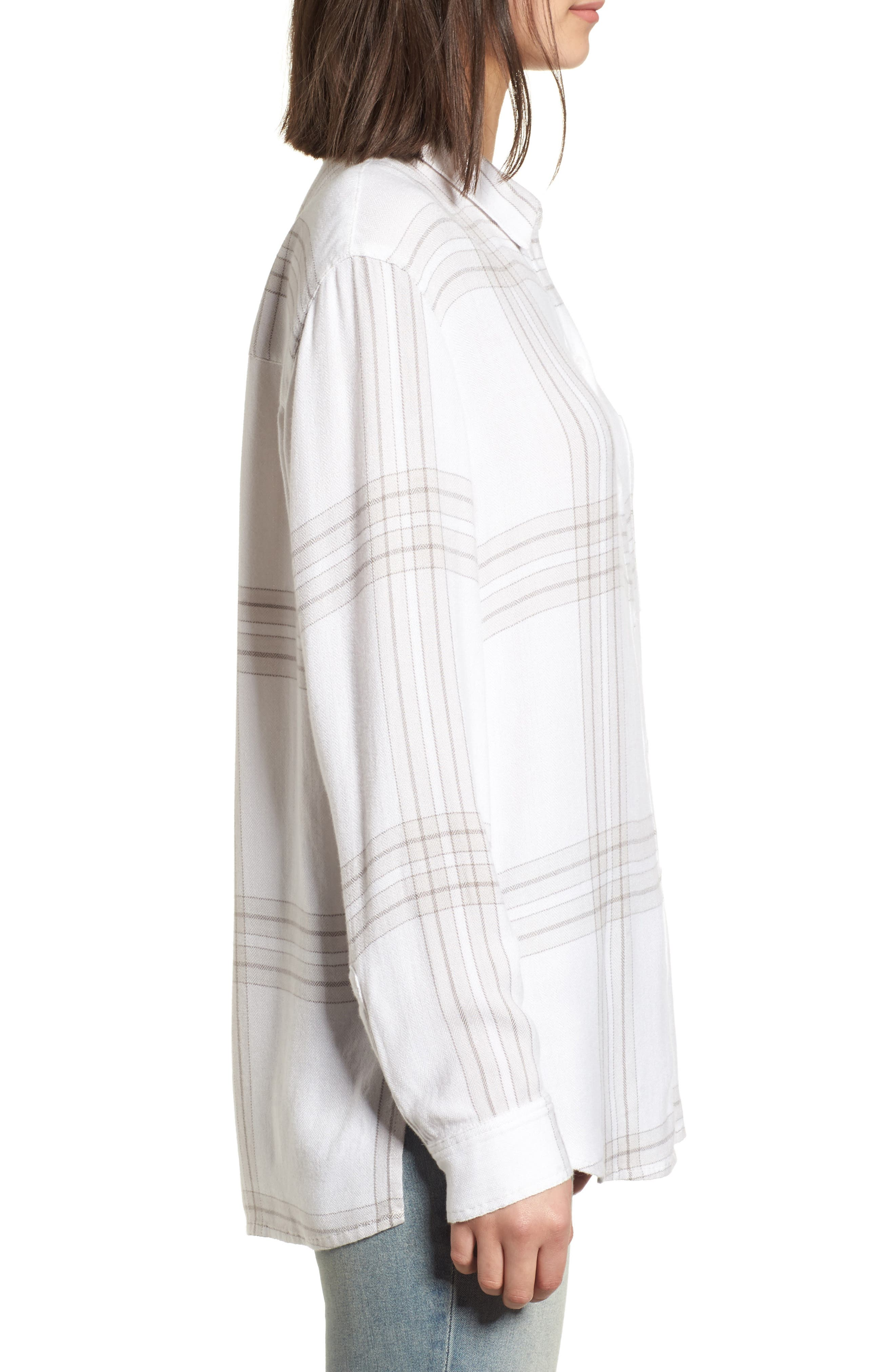 Drapey Plaid Shirt,                             Alternate thumbnail 3, color,                             Grey Ombre Open Window