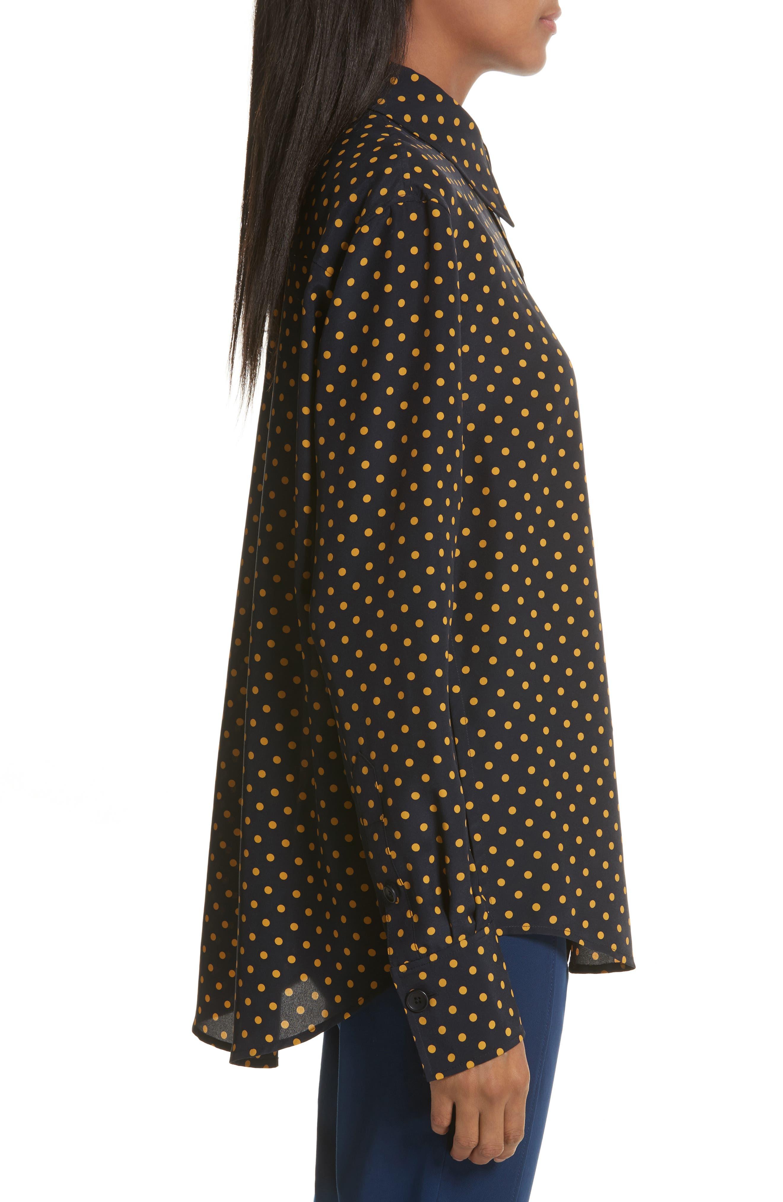 Garcon-Laura Dotted Silk Shirt,                             Alternate thumbnail 3, color,                             Navy