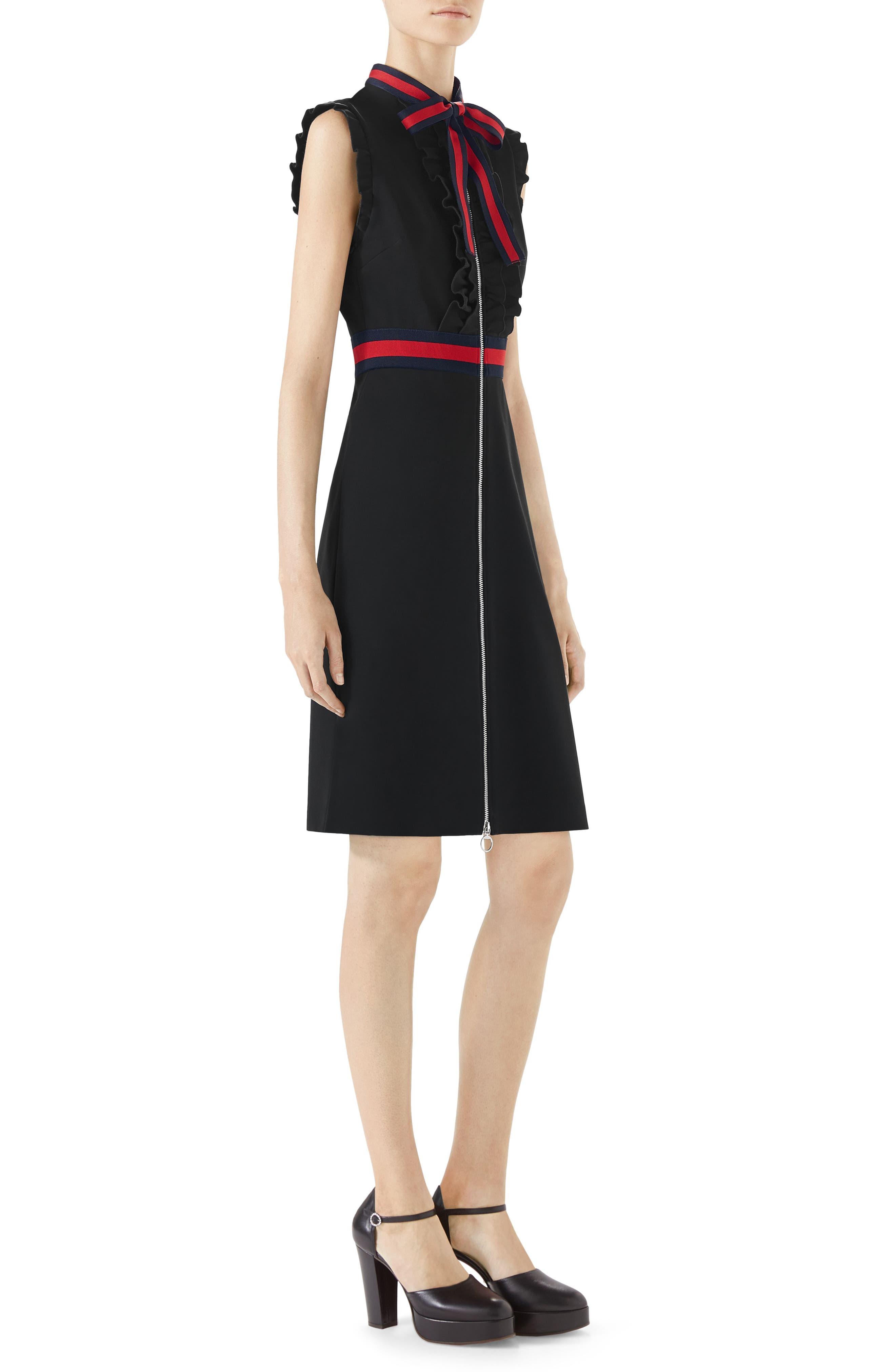 Stripe Trim Jersey Dress,                             Alternate thumbnail 3, color,                             Black