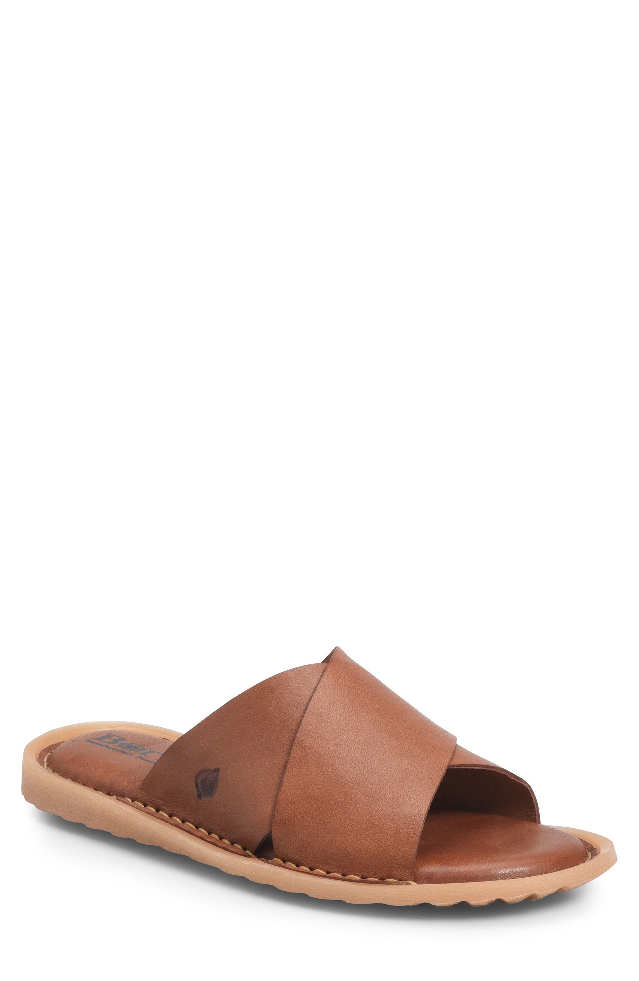 Getaway Slide Sandal,                             Main thumbnail 1, color,                             Rust Leather