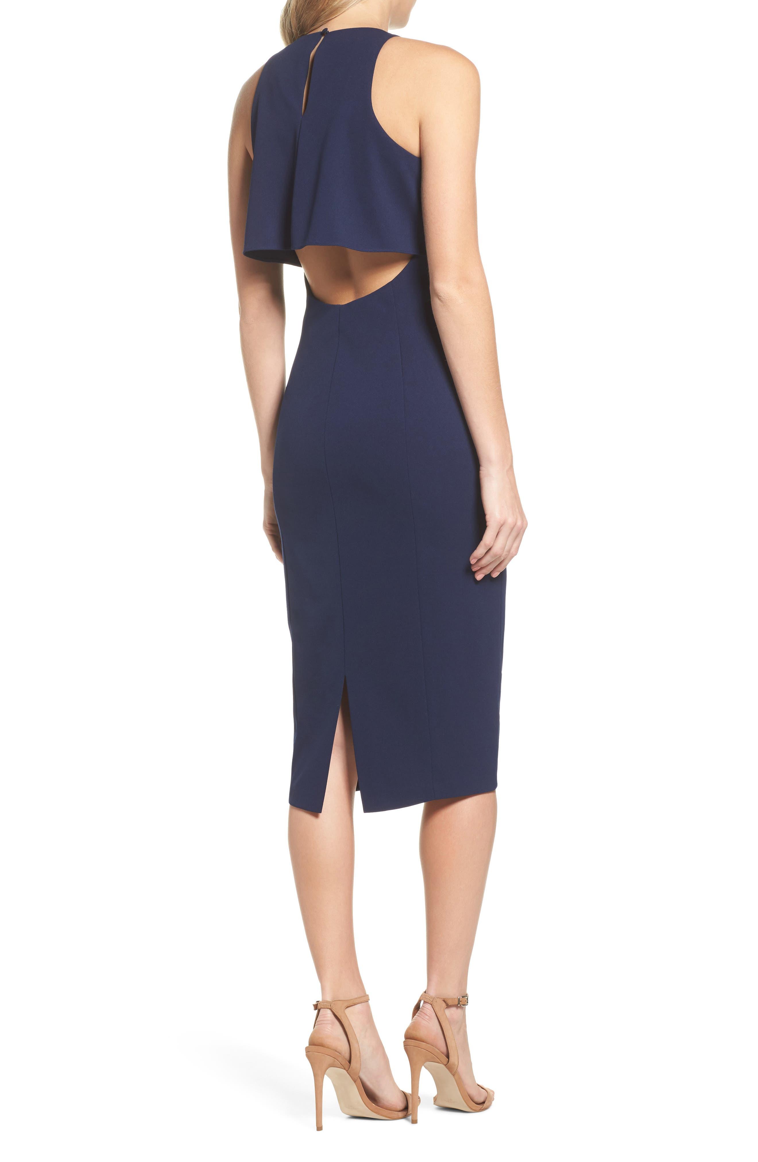 Open Back Sheath Dress,                             Alternate thumbnail 2, color,                             Navy