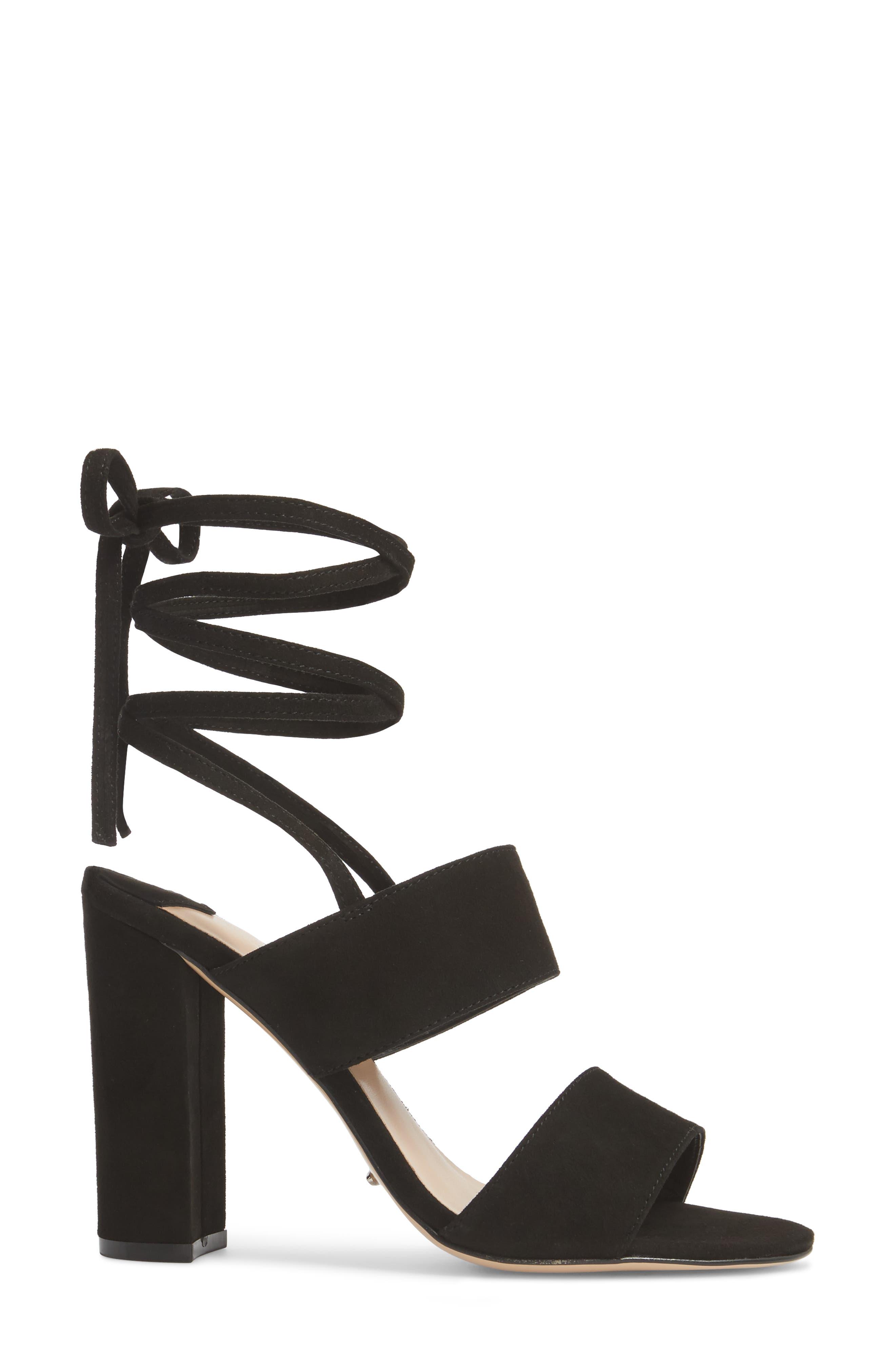 Kiko Ankle Tie Sandal,                             Alternate thumbnail 3, color,                             Black Suede