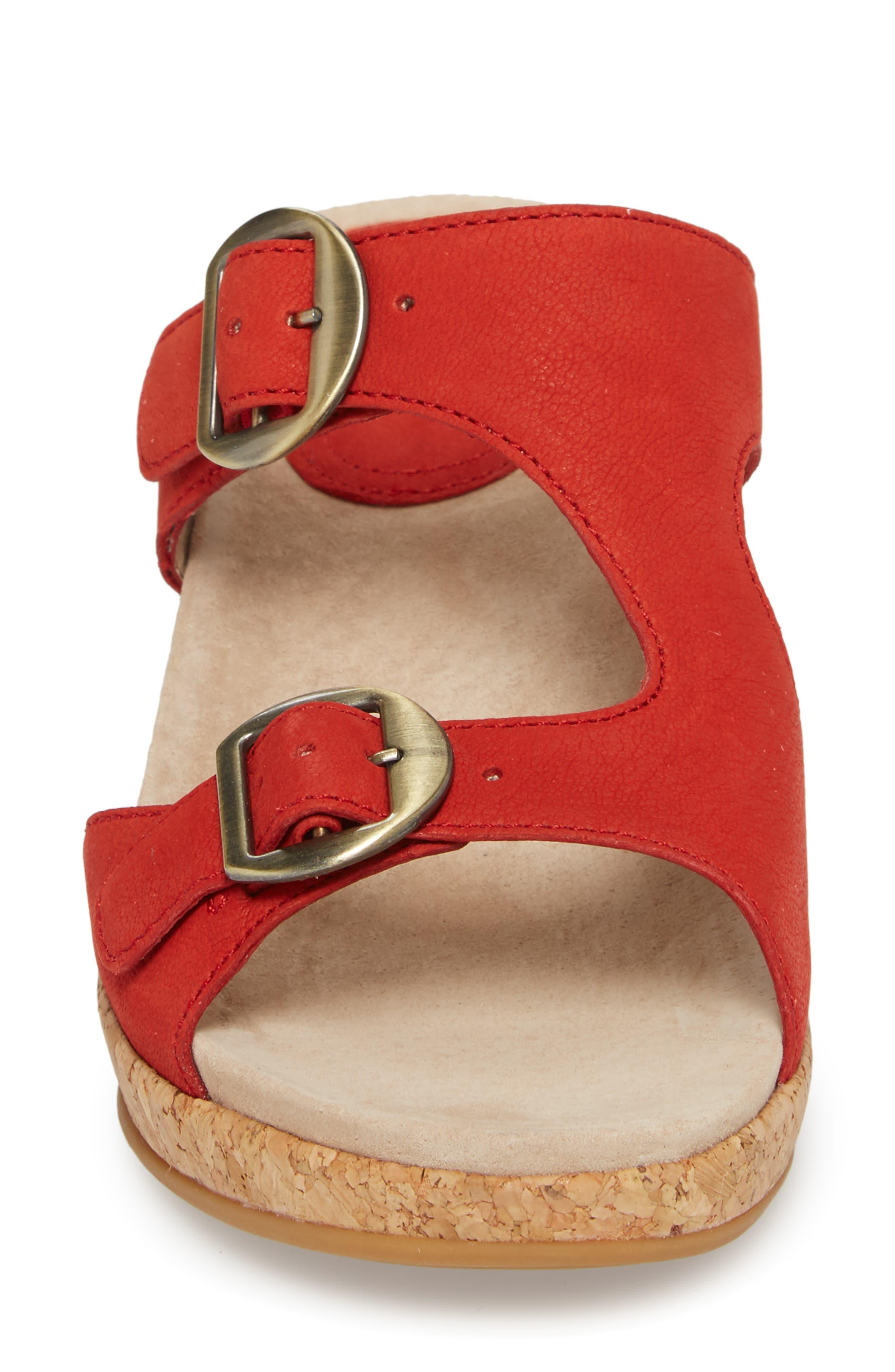 Carla Wedge Slide Sandal,                             Alternate thumbnail 4, color,                             Tomato Milled Nubuck Leather