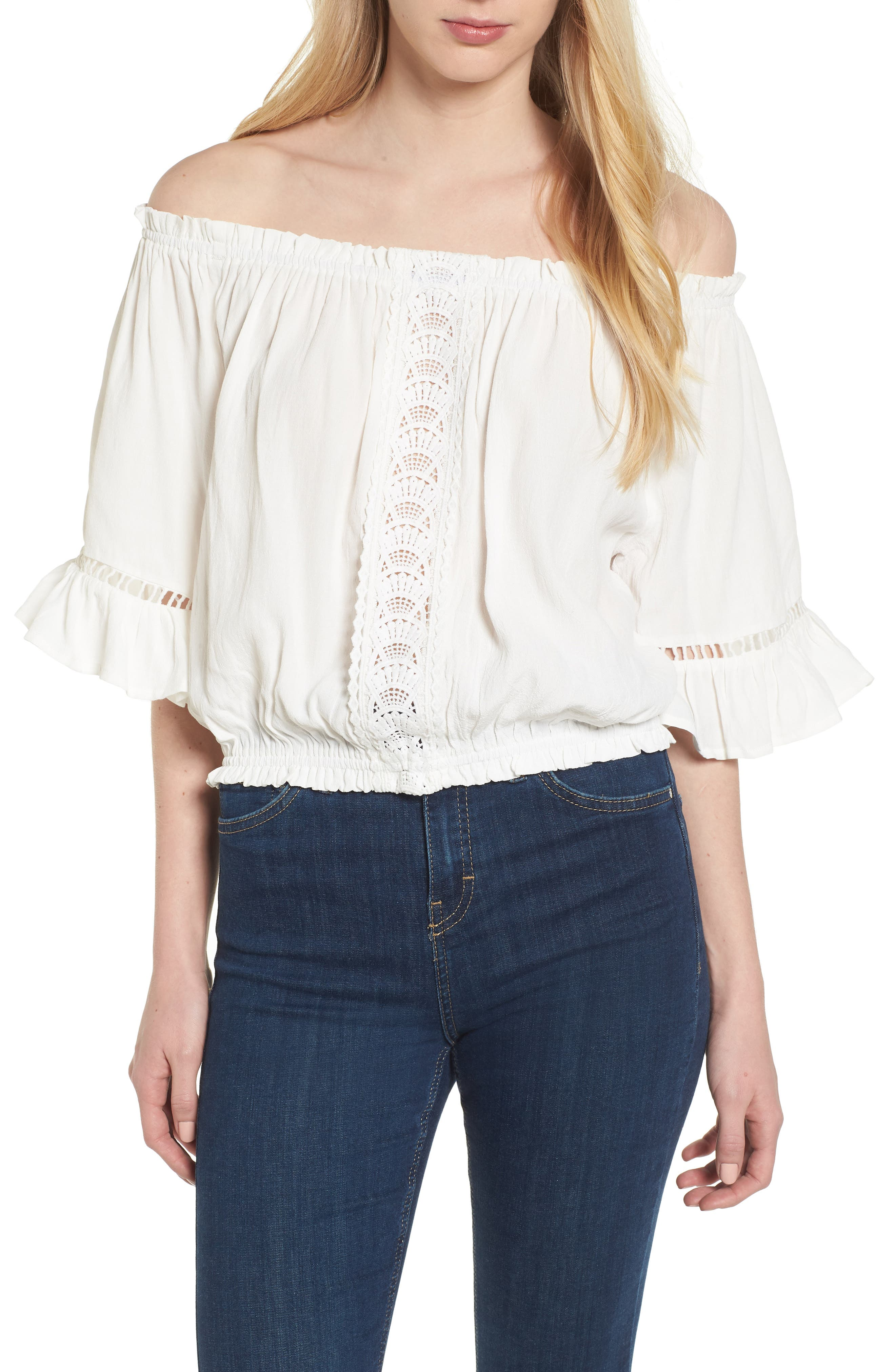 Bishop + Young Off the Shoulder Poet Top,                             Main thumbnail 1, color,                             White