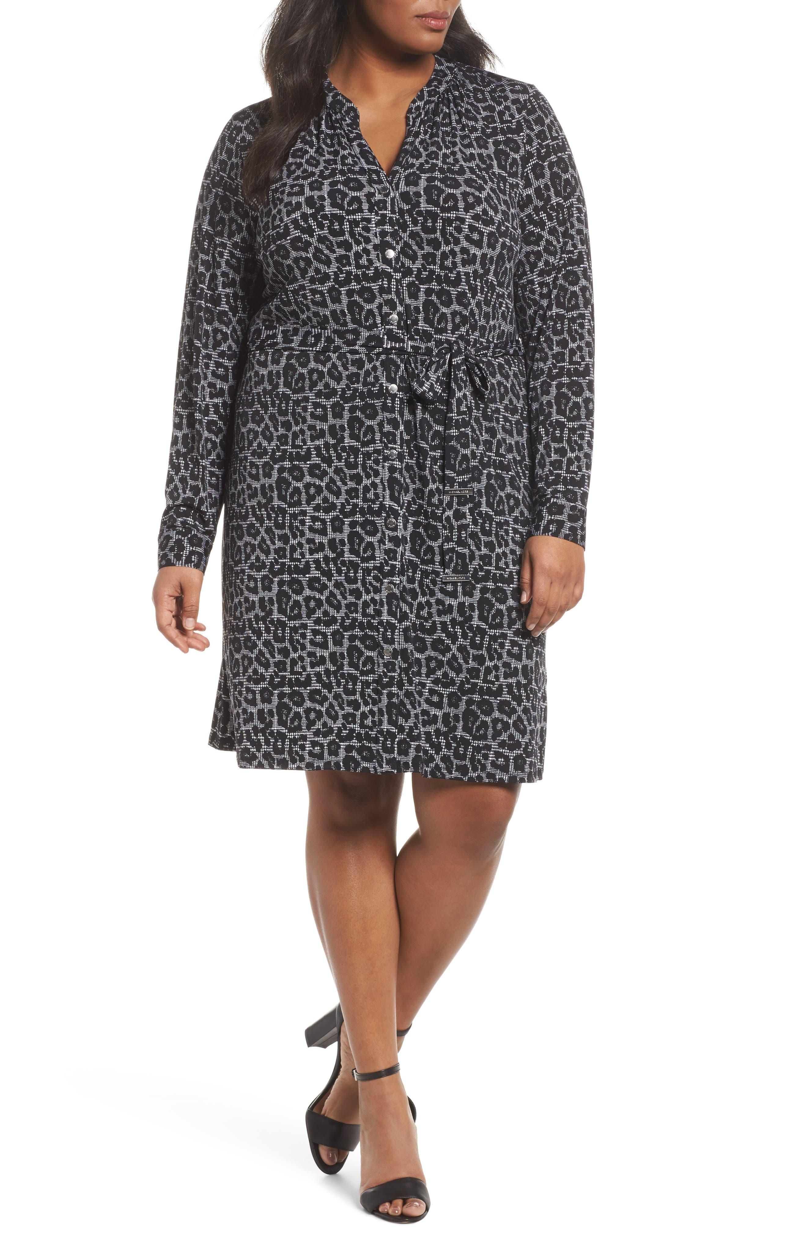 Leopard Plaid Shirtdress,                             Main thumbnail 1, color,                             Black