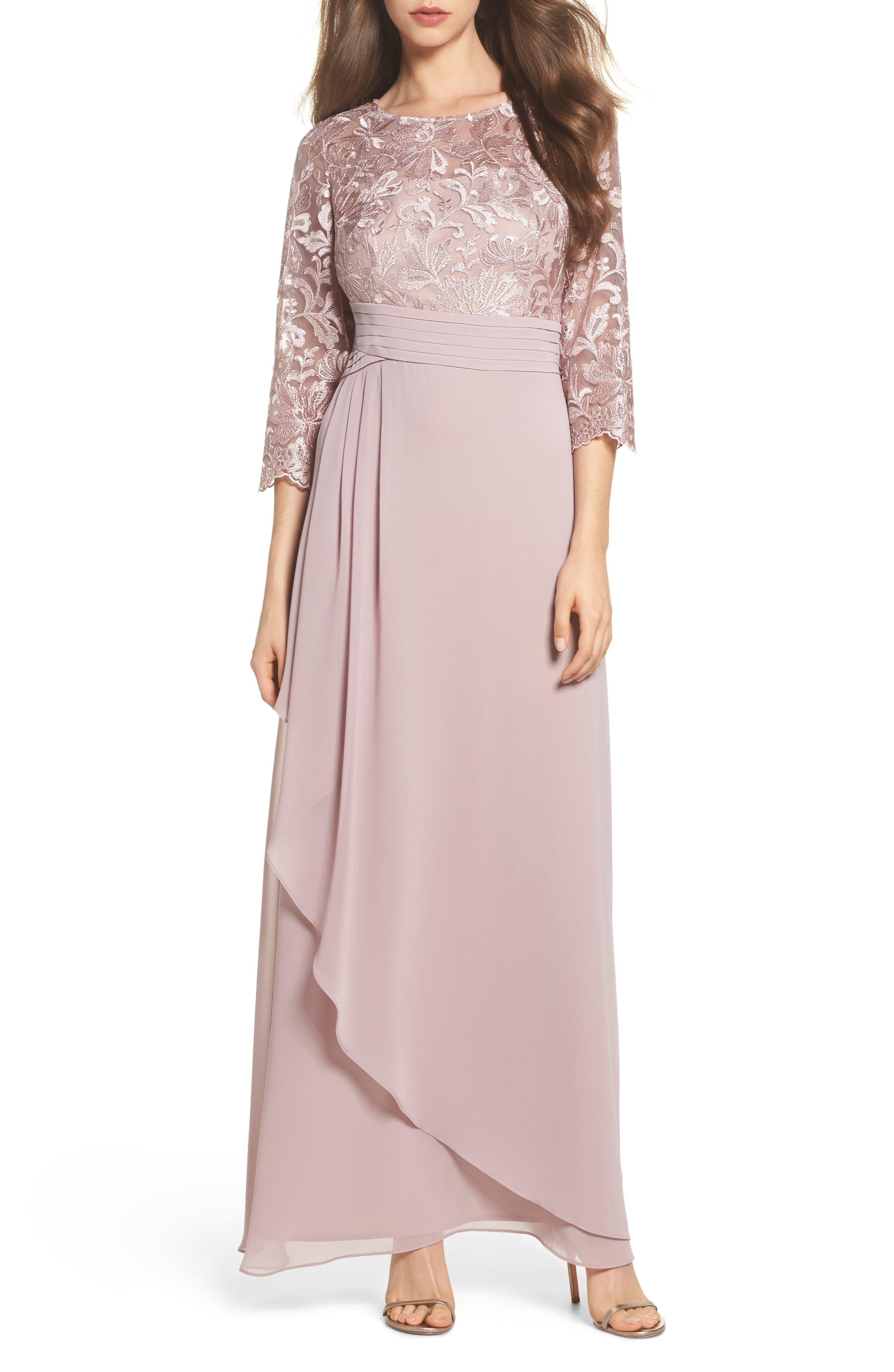 Embroidered A-Line Gown,                         Main,                         color, Rose