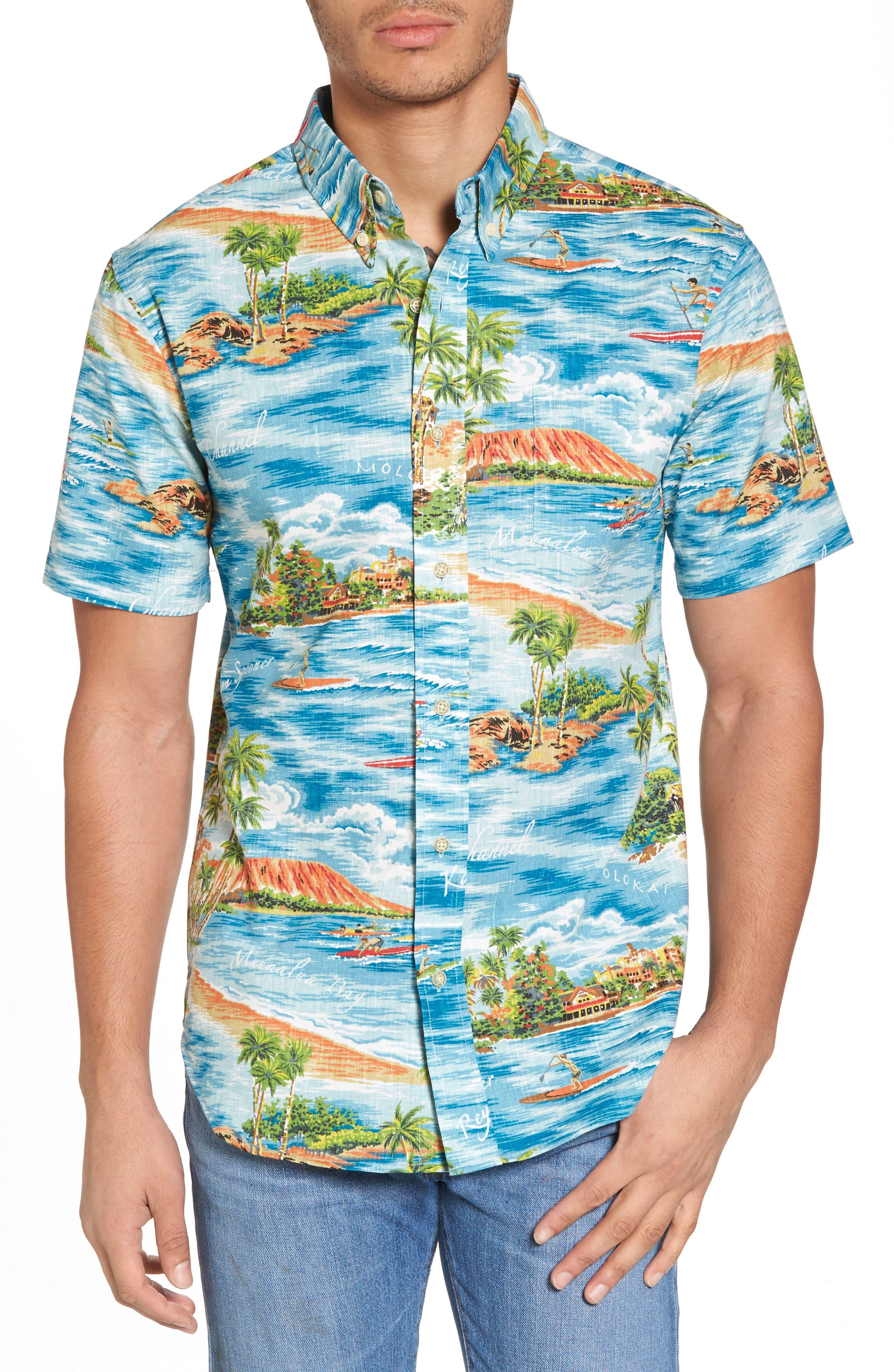 Downward Paddler Tailored Fit Sport Shirt,                         Main,                         color, Denim