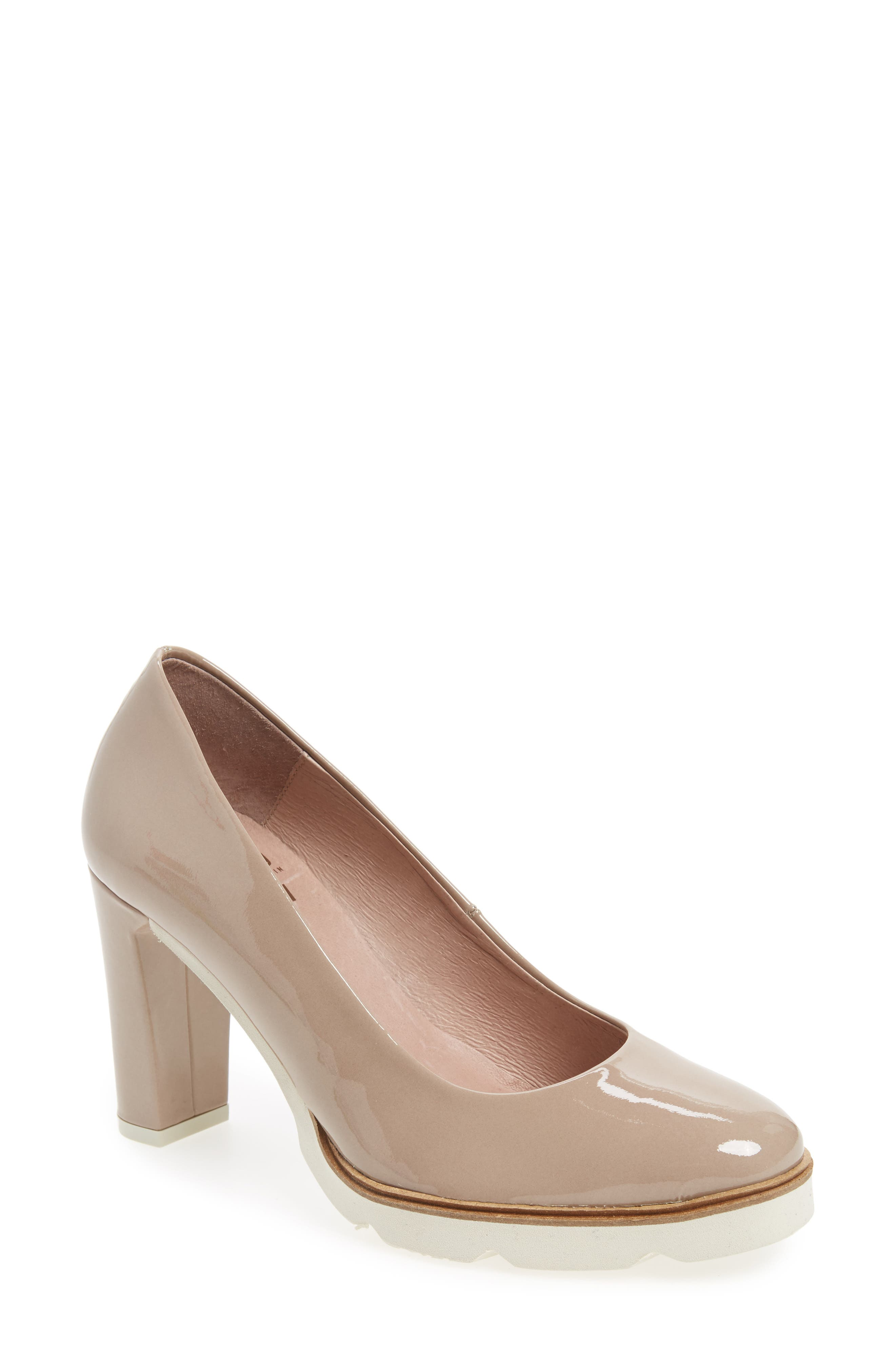 Almond Toe Pump,                             Main thumbnail 1, color,                             Taupe Leather