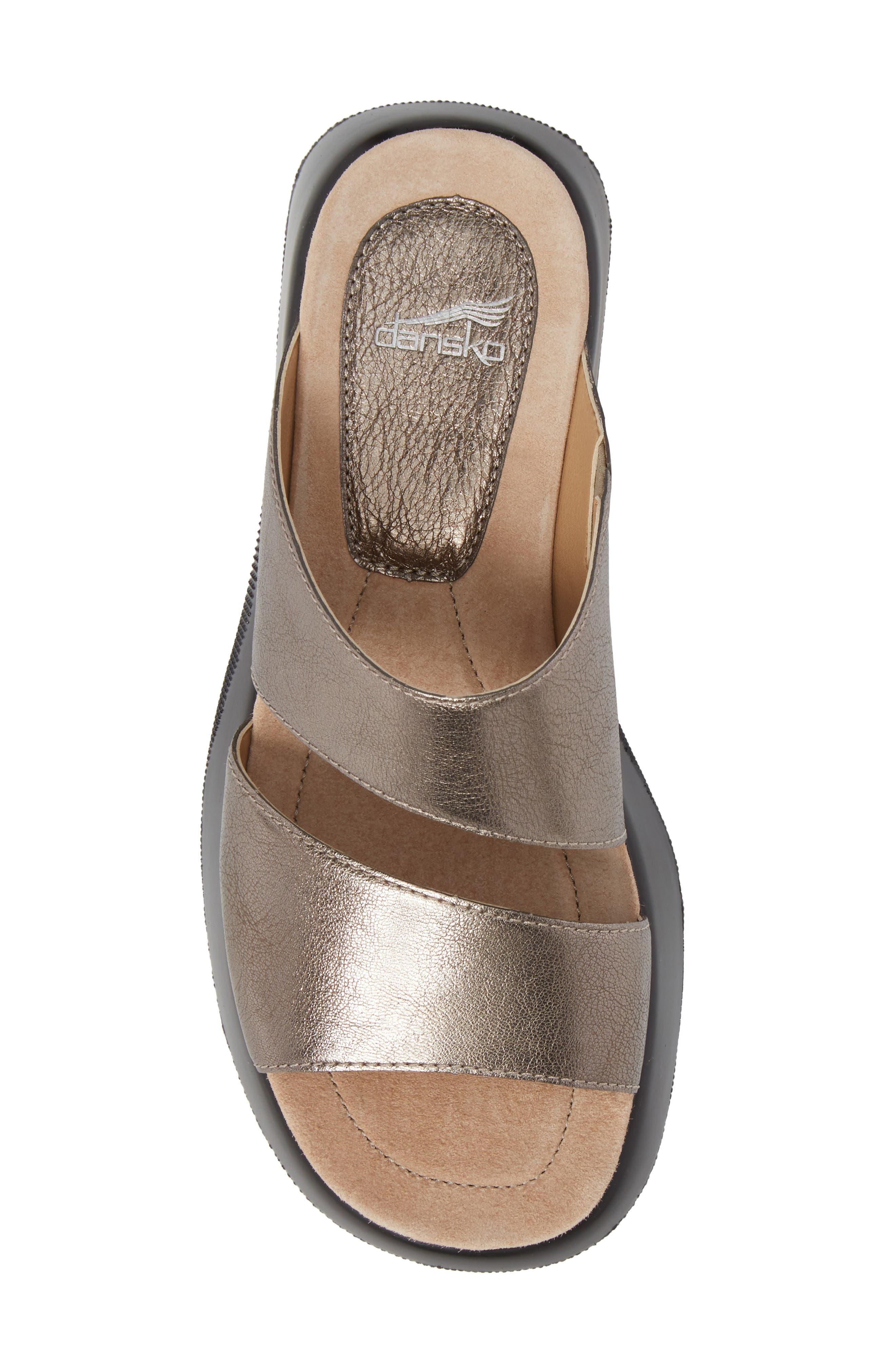 Lana Slide Sandal,                             Alternate thumbnail 5, color,                             Pewter Leather