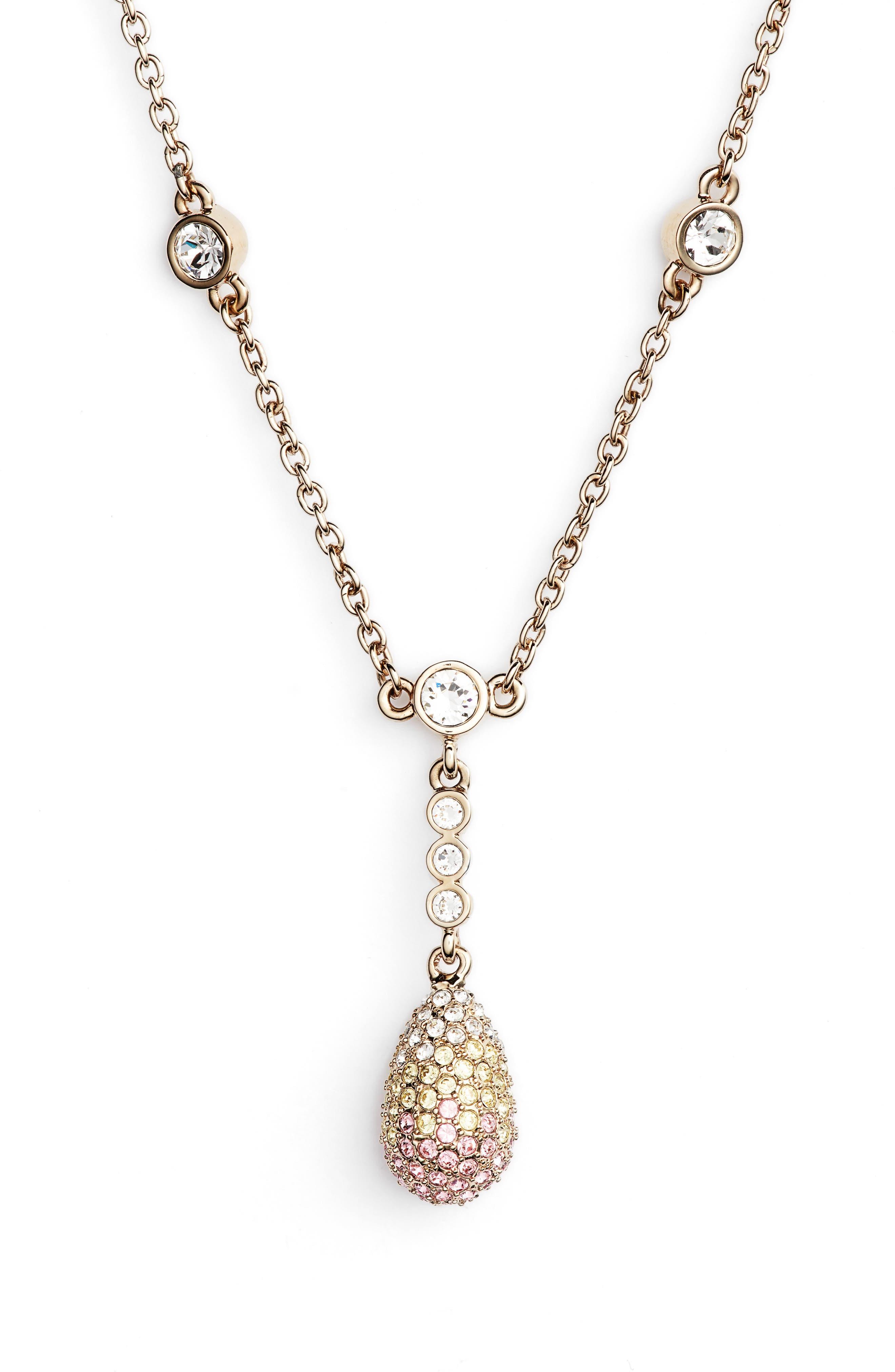 Pavé Pendant Necklace,                         Main,                         color, Gold/ Light Rose