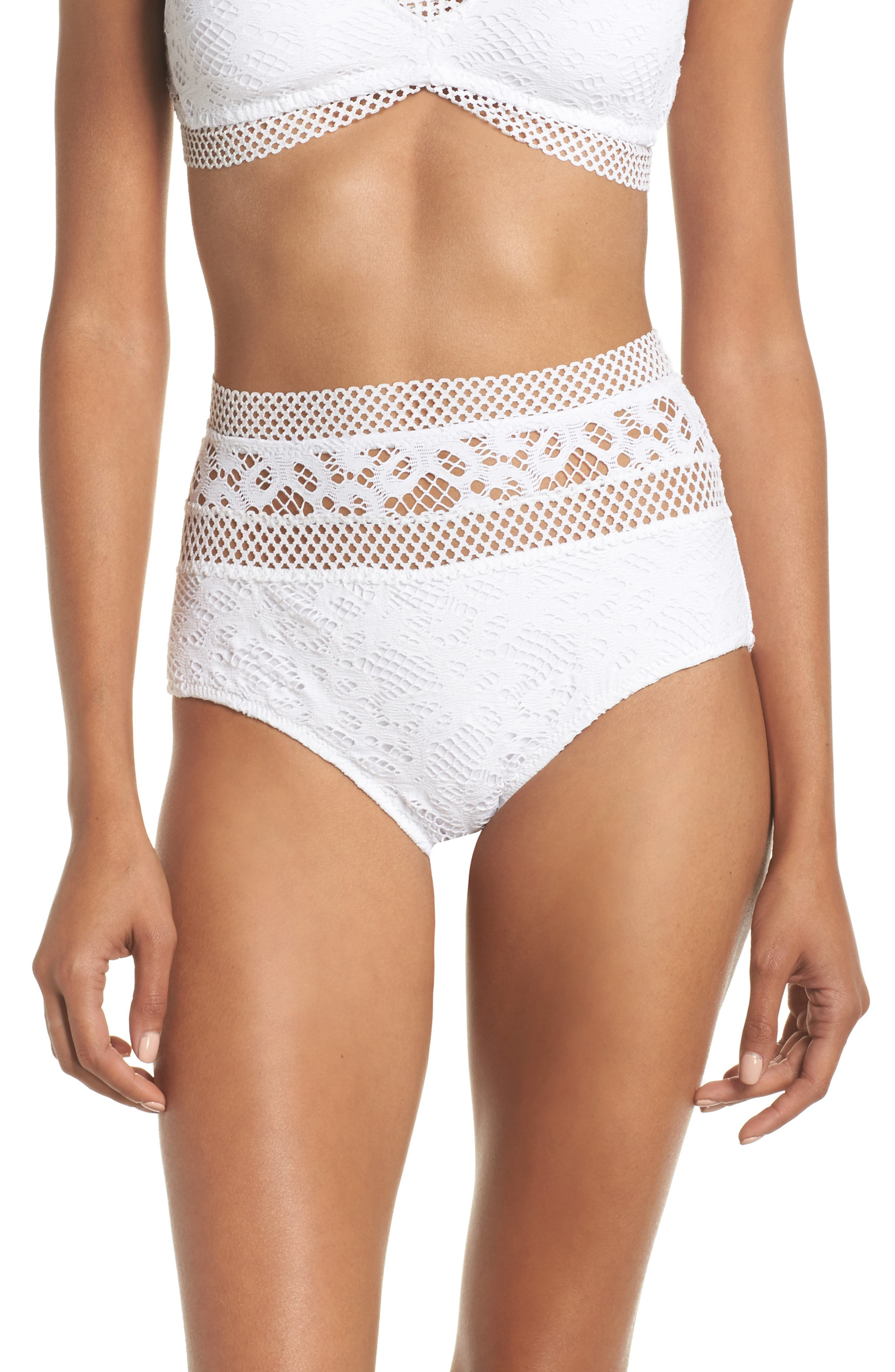Captured High Waist Bikini Bottoms,                         Main,                         color, White