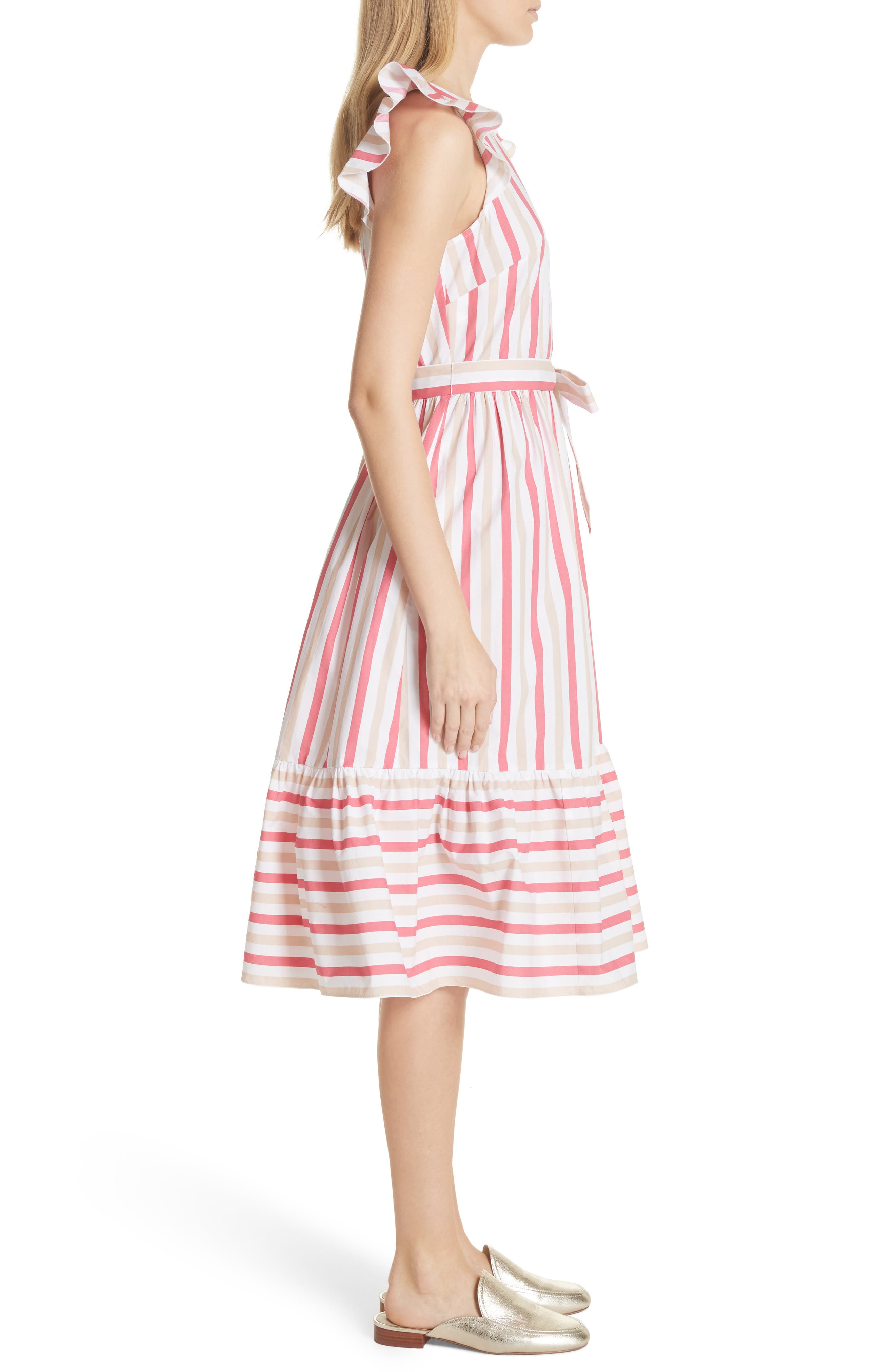 stripe poplin midi dress,                             Alternate thumbnail 3, color,                             Peach Sherbet
