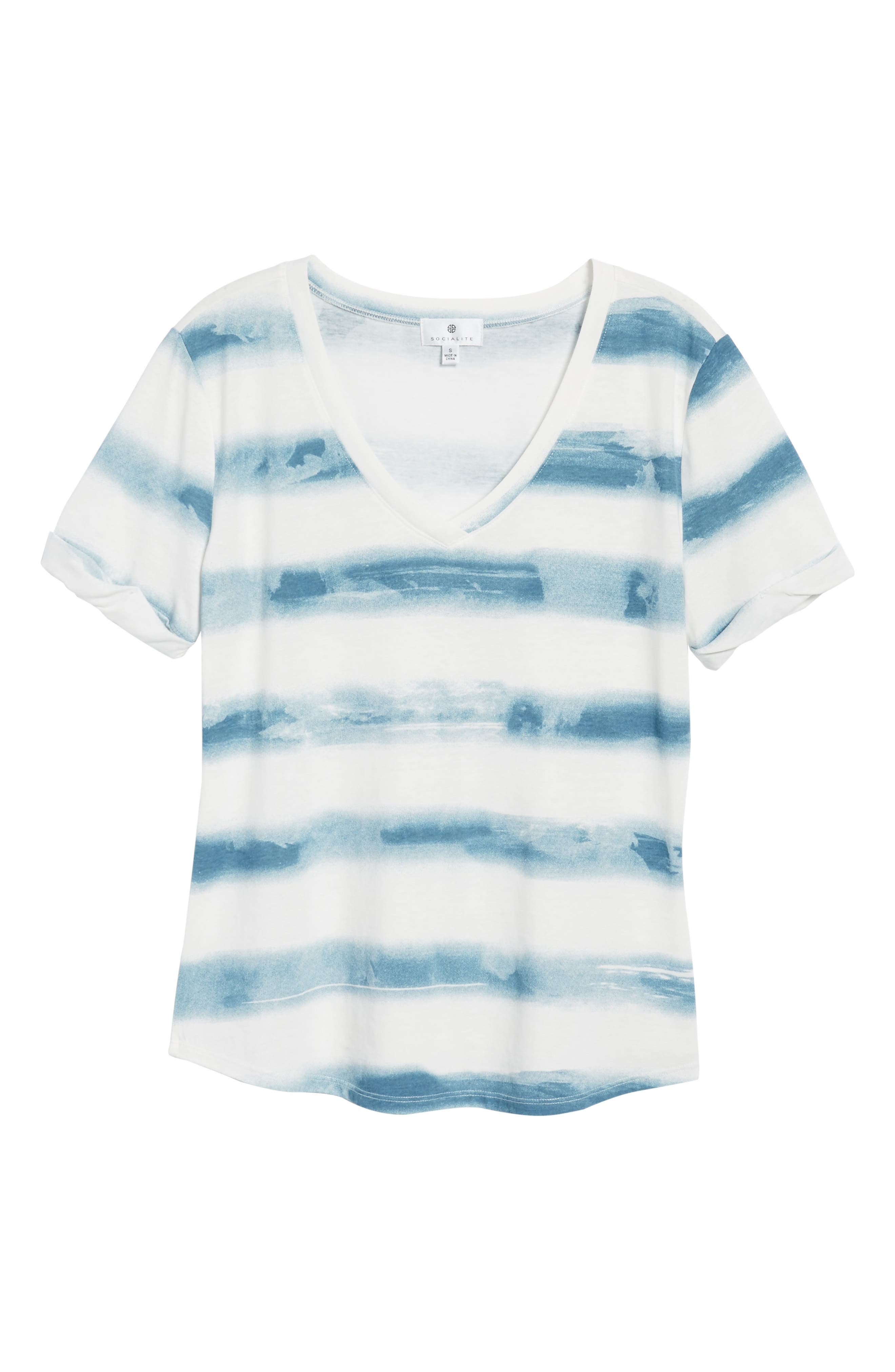 Stripe Roll Sleeve Tee,                             Alternate thumbnail 6, color,                             Off White/ Blue Burnout Stripe