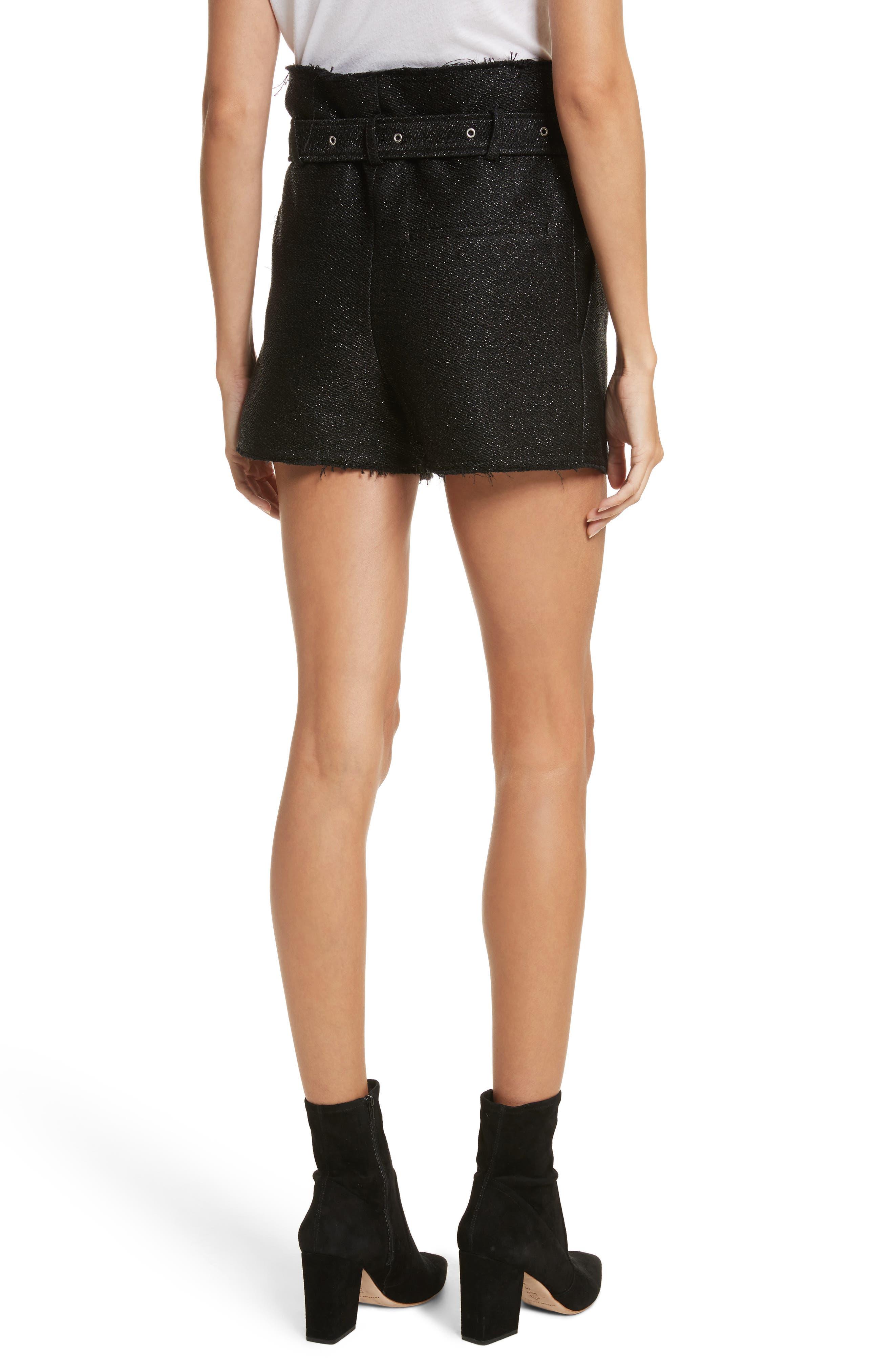 Chopan Belted Paper Bag Shorts,                             Alternate thumbnail 2, color,                             Black