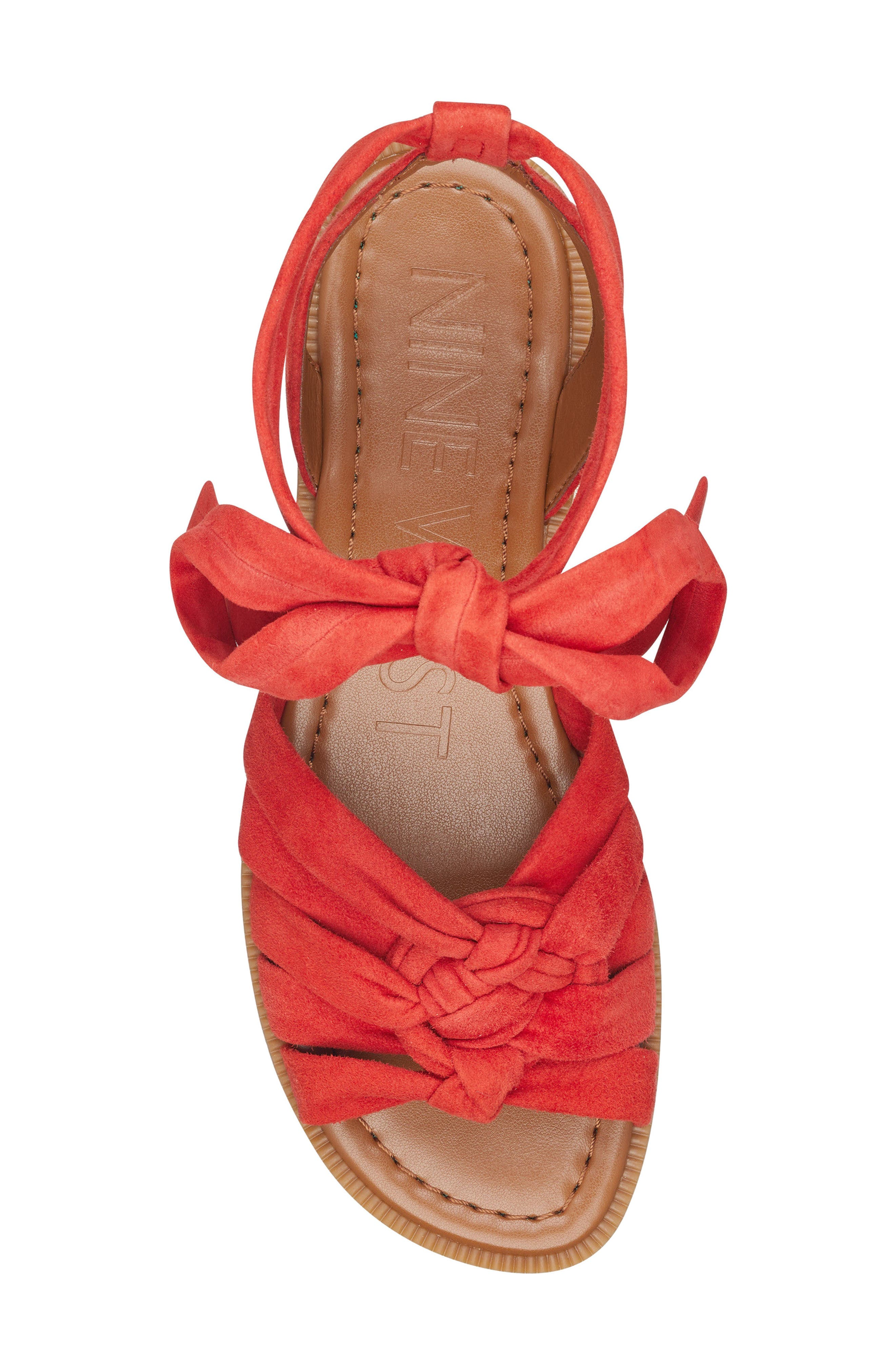 Xameera Knotted Sandal,                             Alternate thumbnail 5, color,                             Red Suede