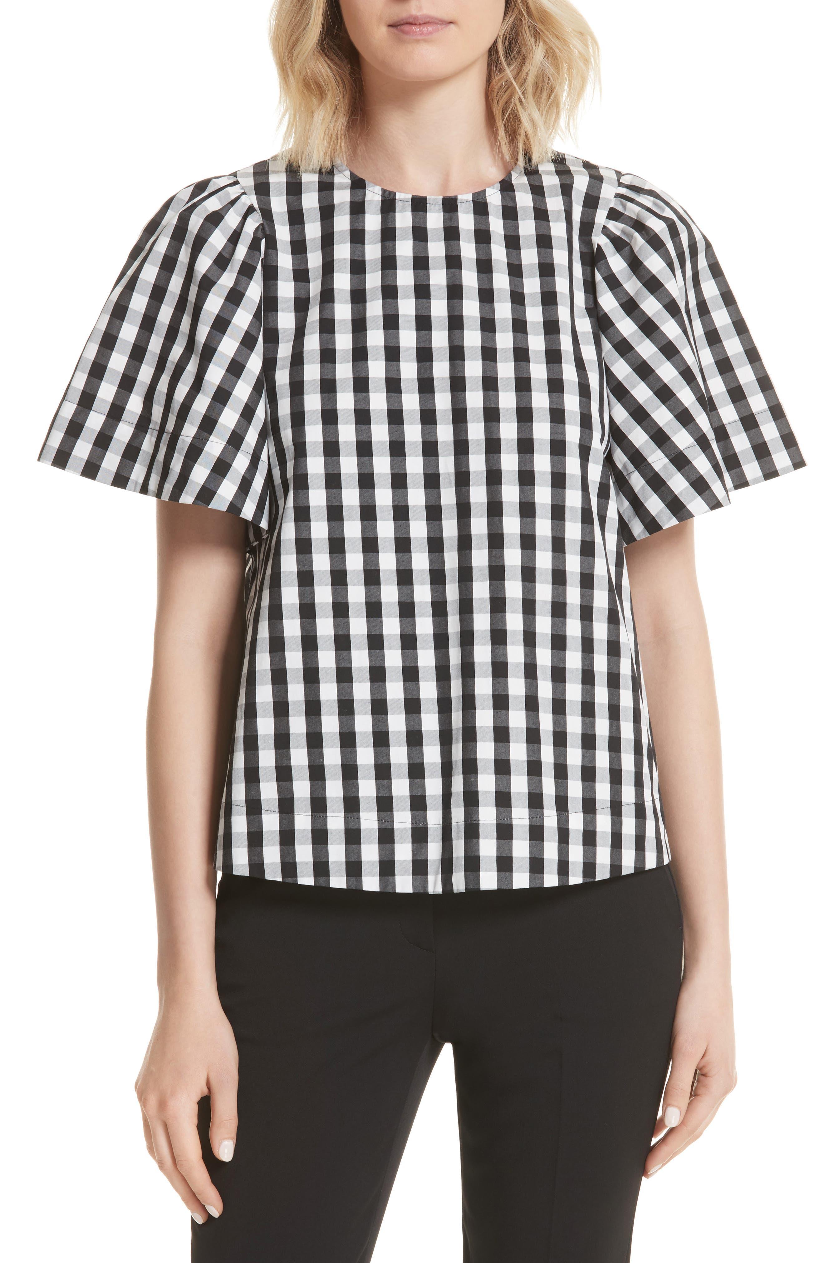 gingham flutter sleeve top,                         Main,                         color, Black
