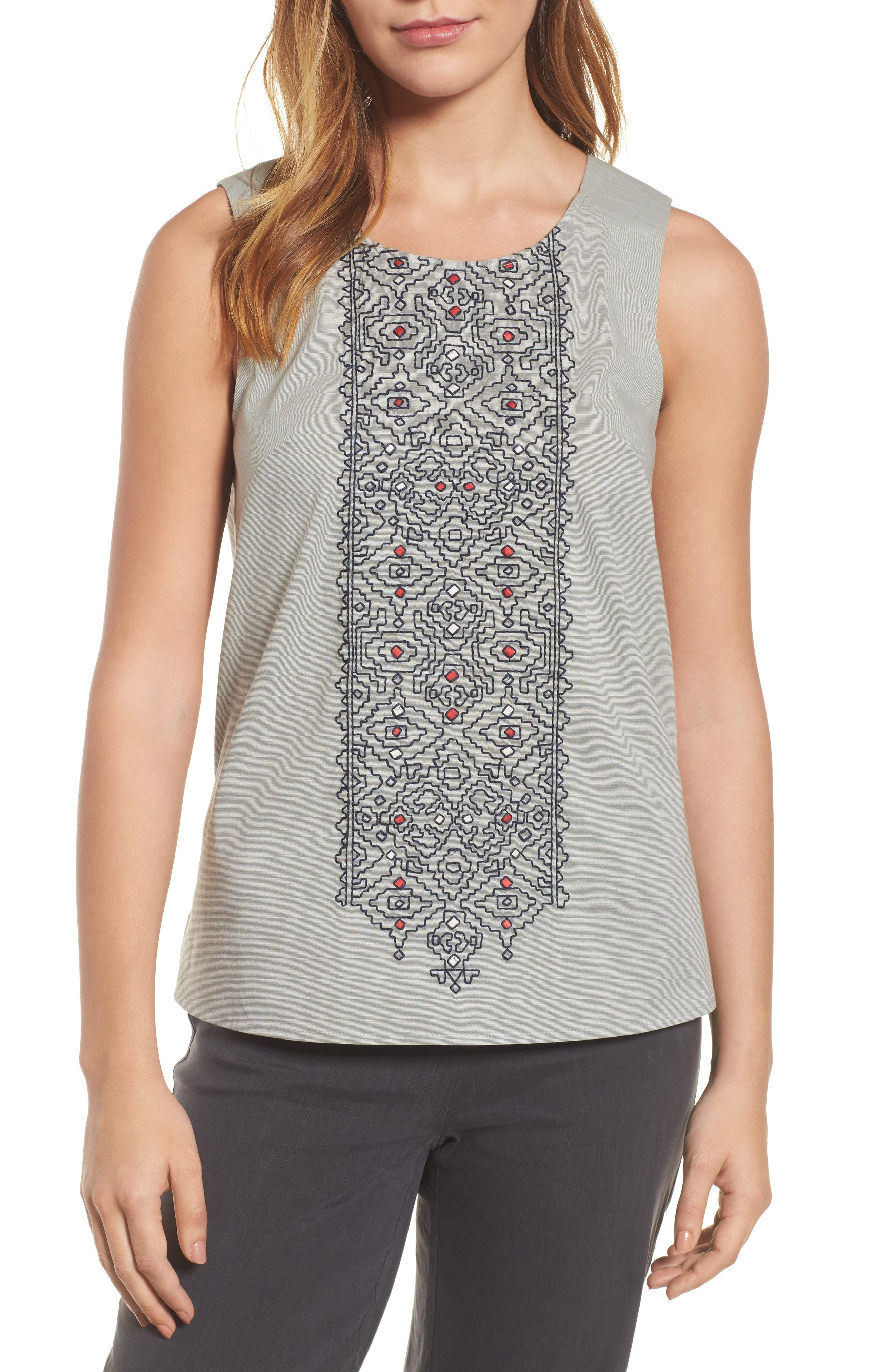 Cypress Embroidered Tank,                             Main thumbnail 1, color,                             Spring Moss Mix