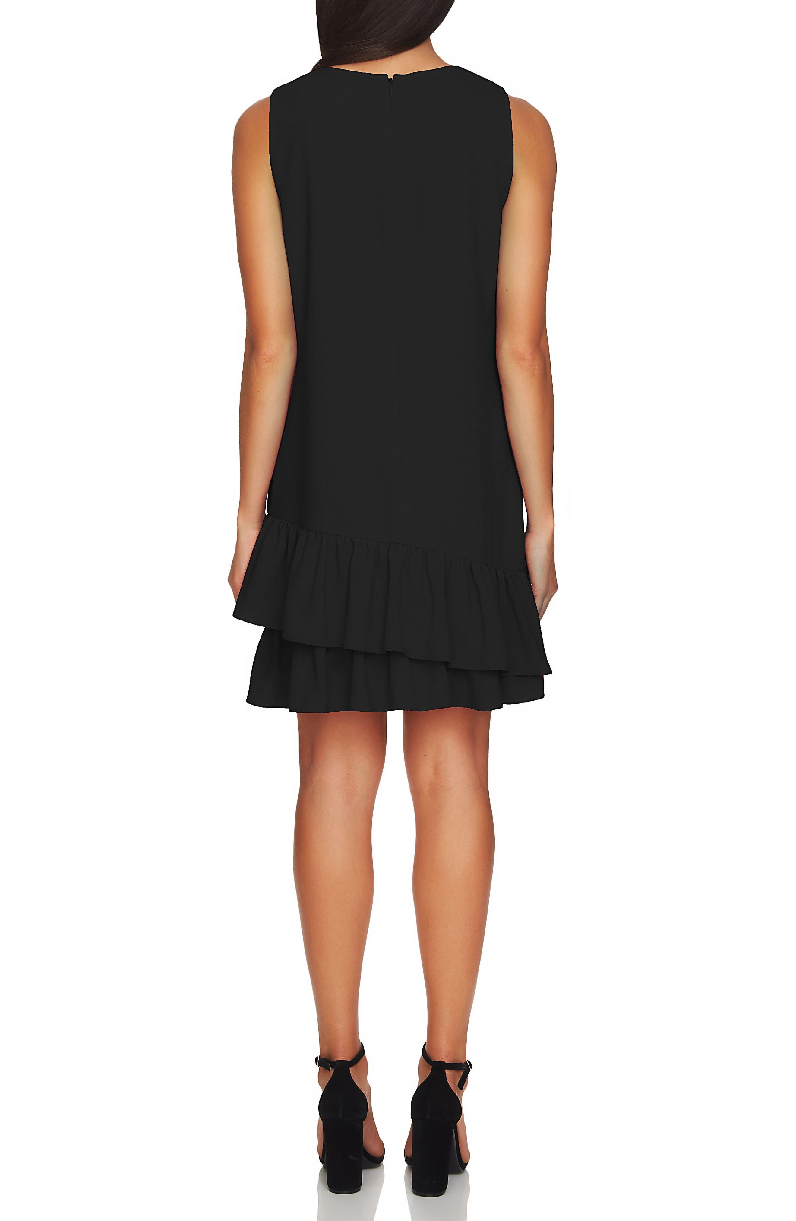 Macara Ruffle Hem Shift Dress,                             Alternate thumbnail 2, color,                             Rich Black