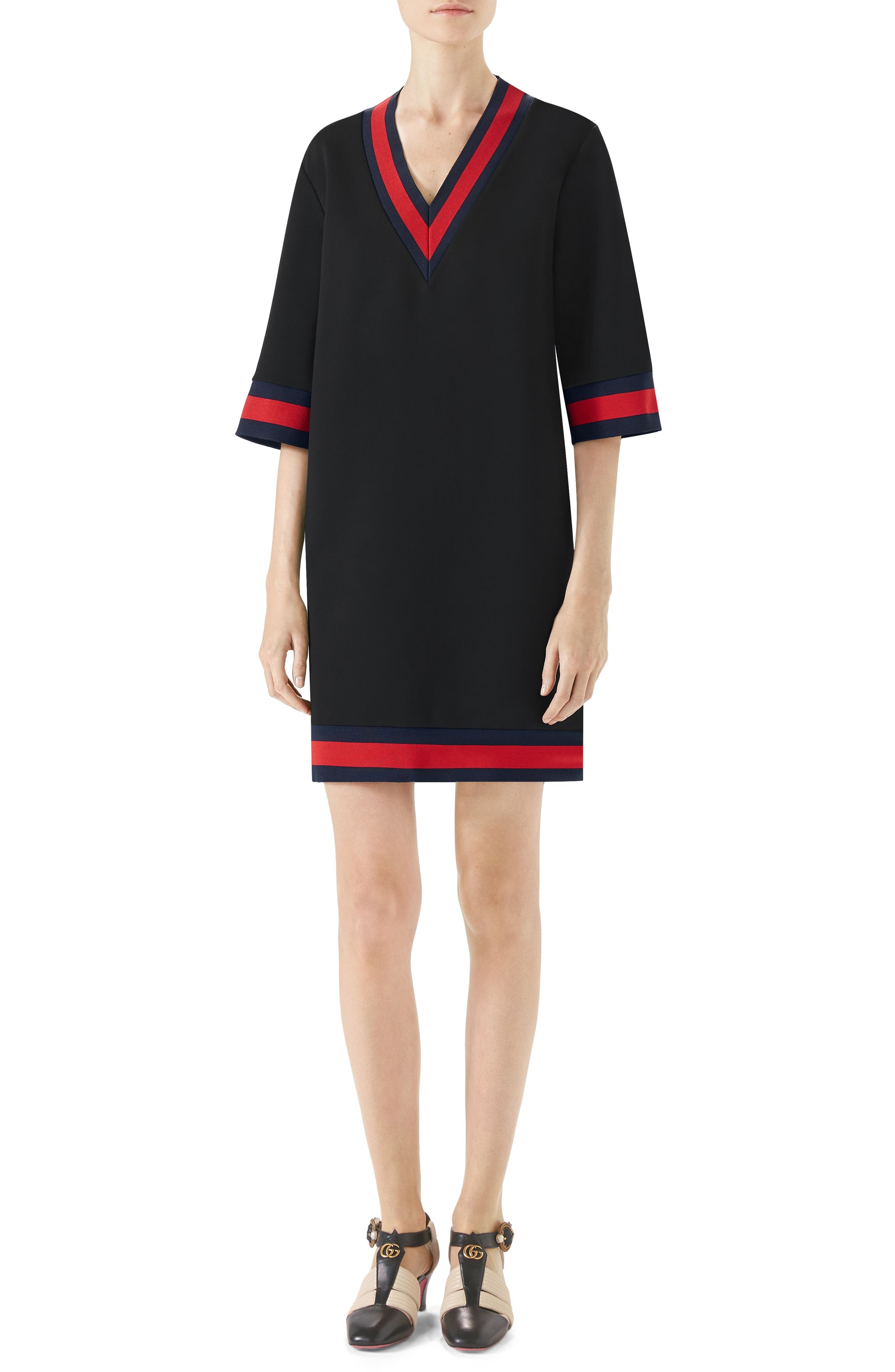 Stripe Trim Shift Dress,                             Main thumbnail 1, color,                             Black