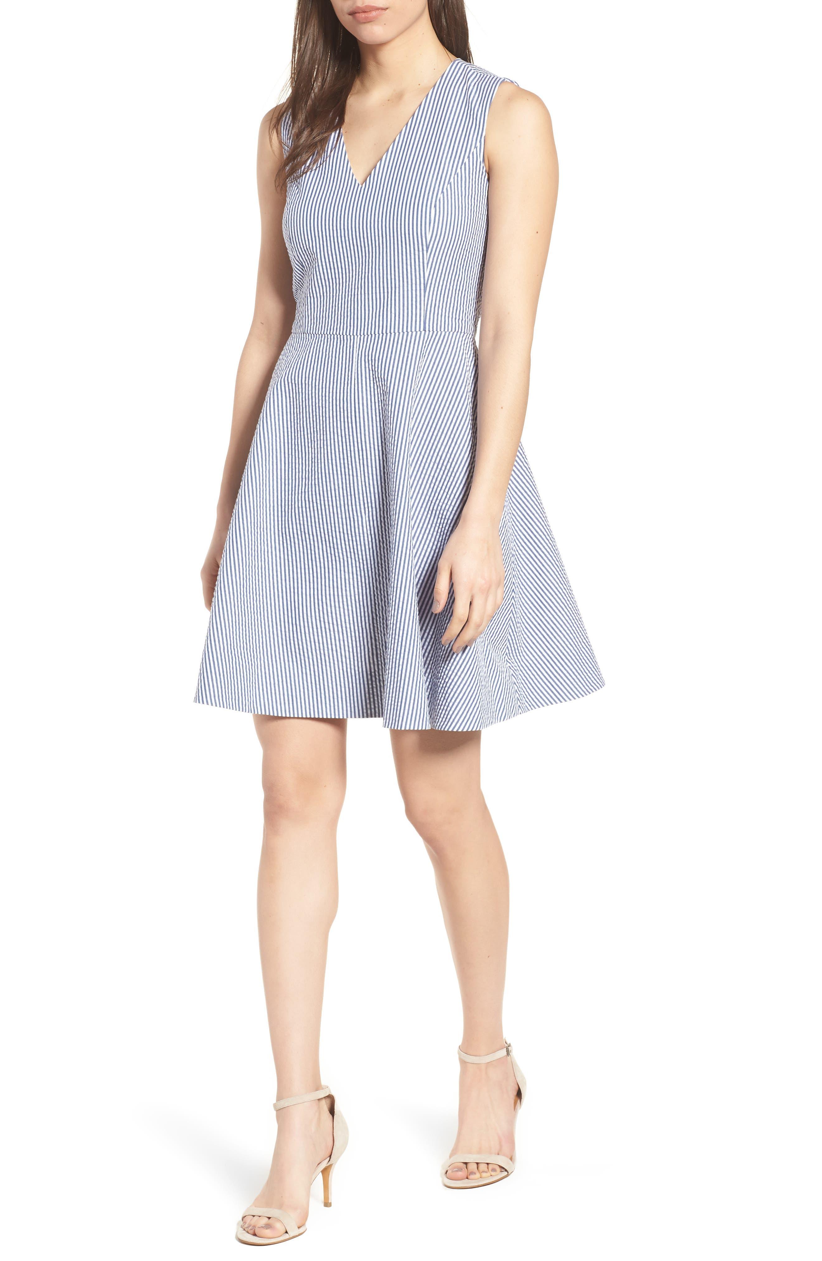 Love Circle Seersucker Stretch Cotton Dress,                             Main thumbnail 1, color,                             Navy