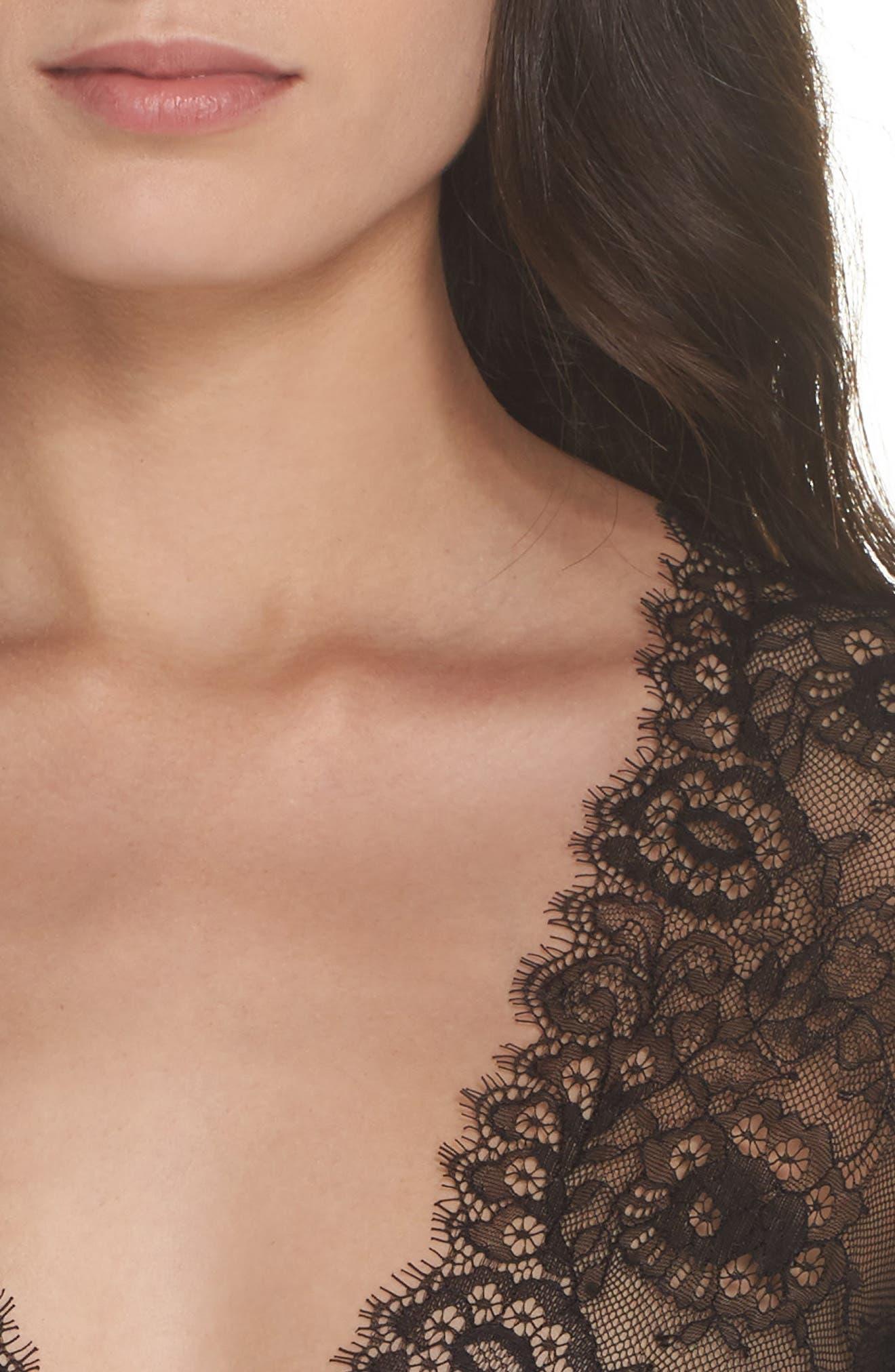 Dossa Lace & Mesh Bodysuit,                             Alternate thumbnail 5, color,                             Black