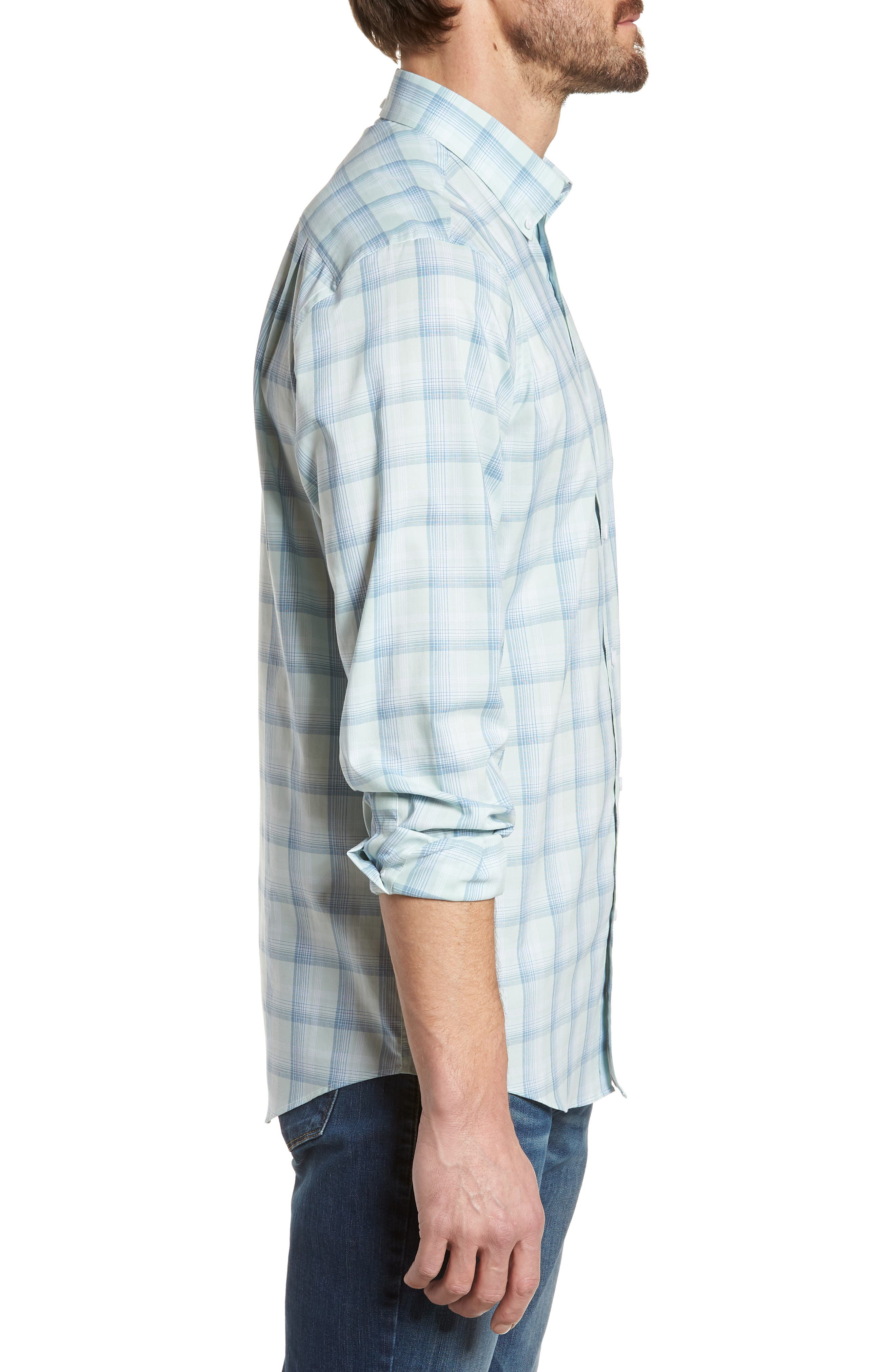 Tech-Smart Regular Fit Plaid Sport Shirt,                             Alternate thumbnail 4, color,                             Teal Surf Blue Plaid
