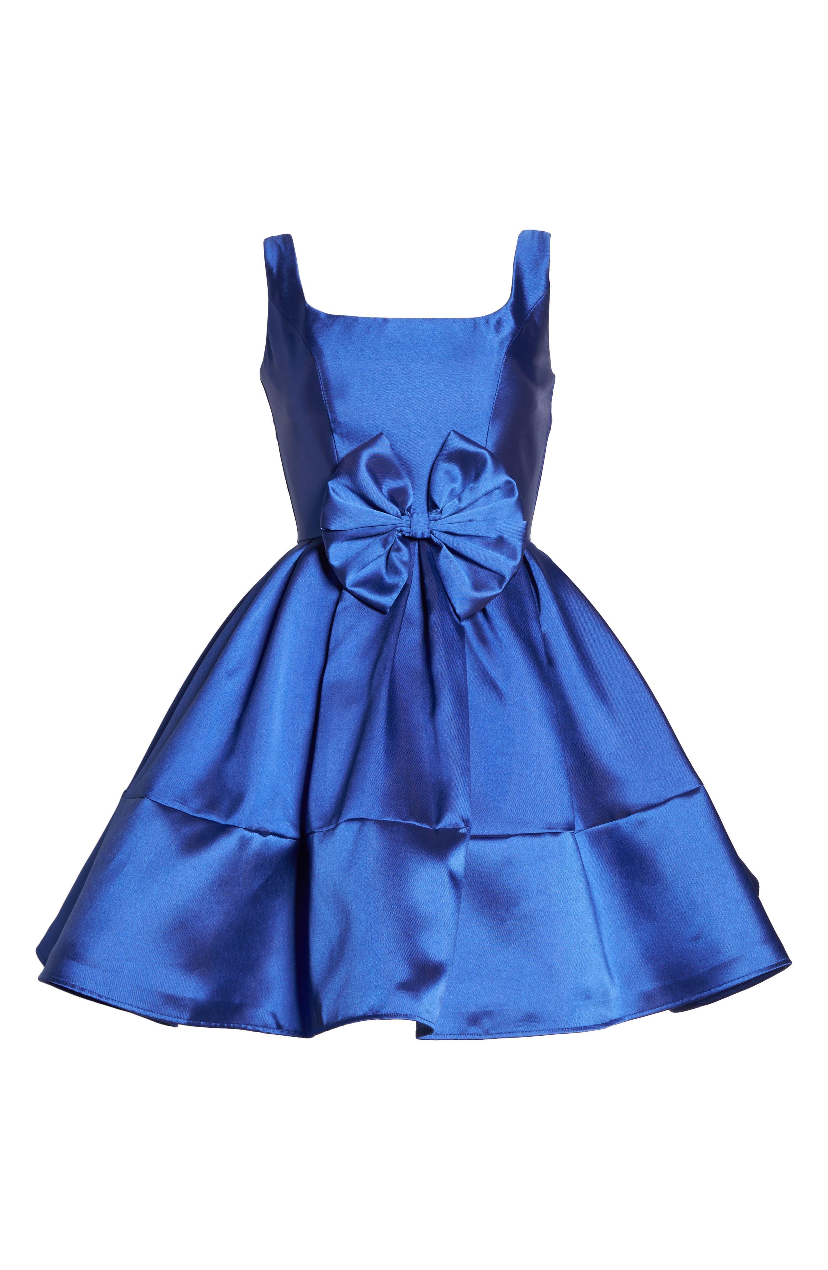 Square Neck Mikado Party Dress,                             Alternate thumbnail 6, color,                             Royal