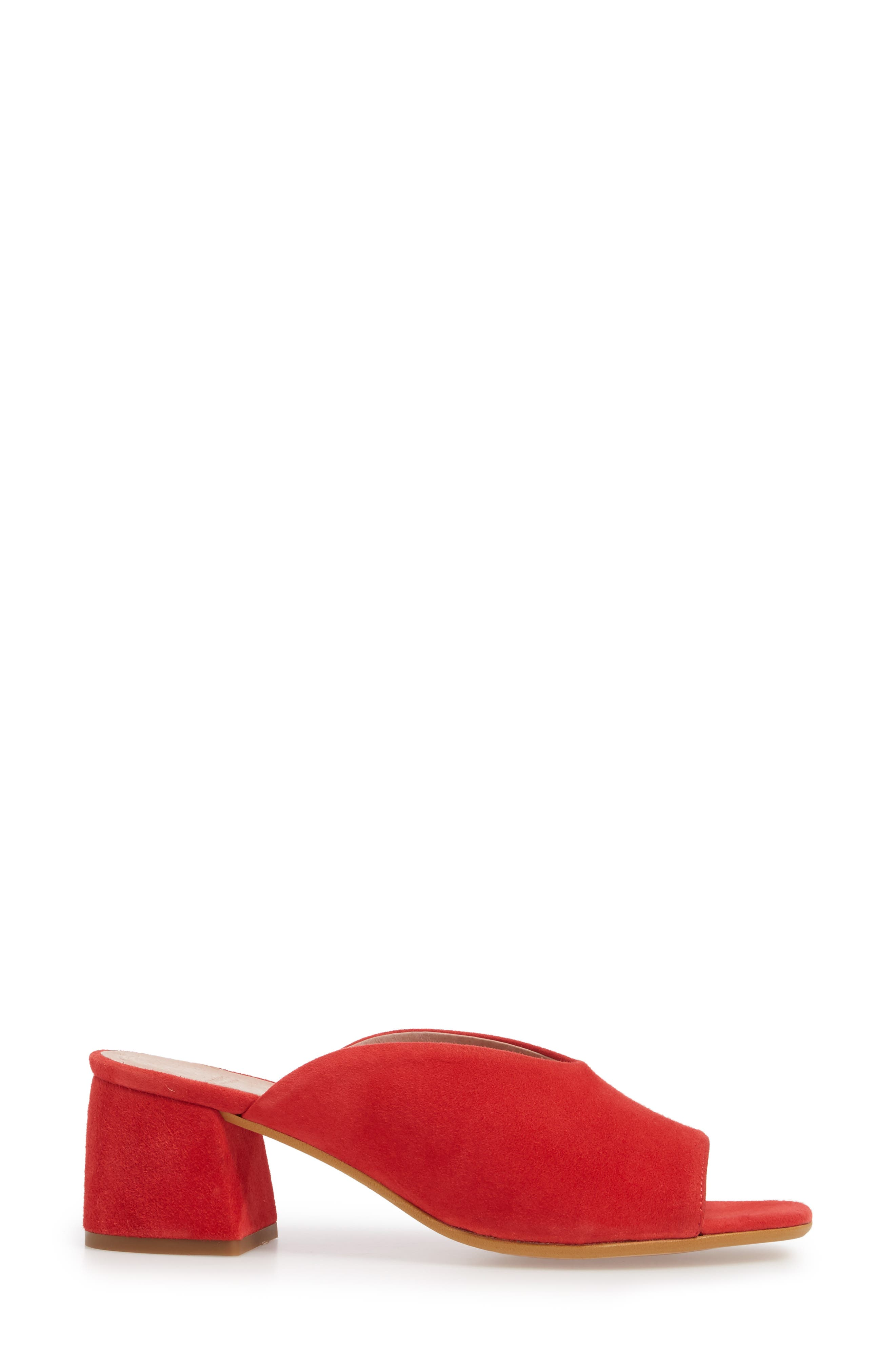 F-6127 Mule,                             Alternate thumbnail 3, color,                             Red Suede
