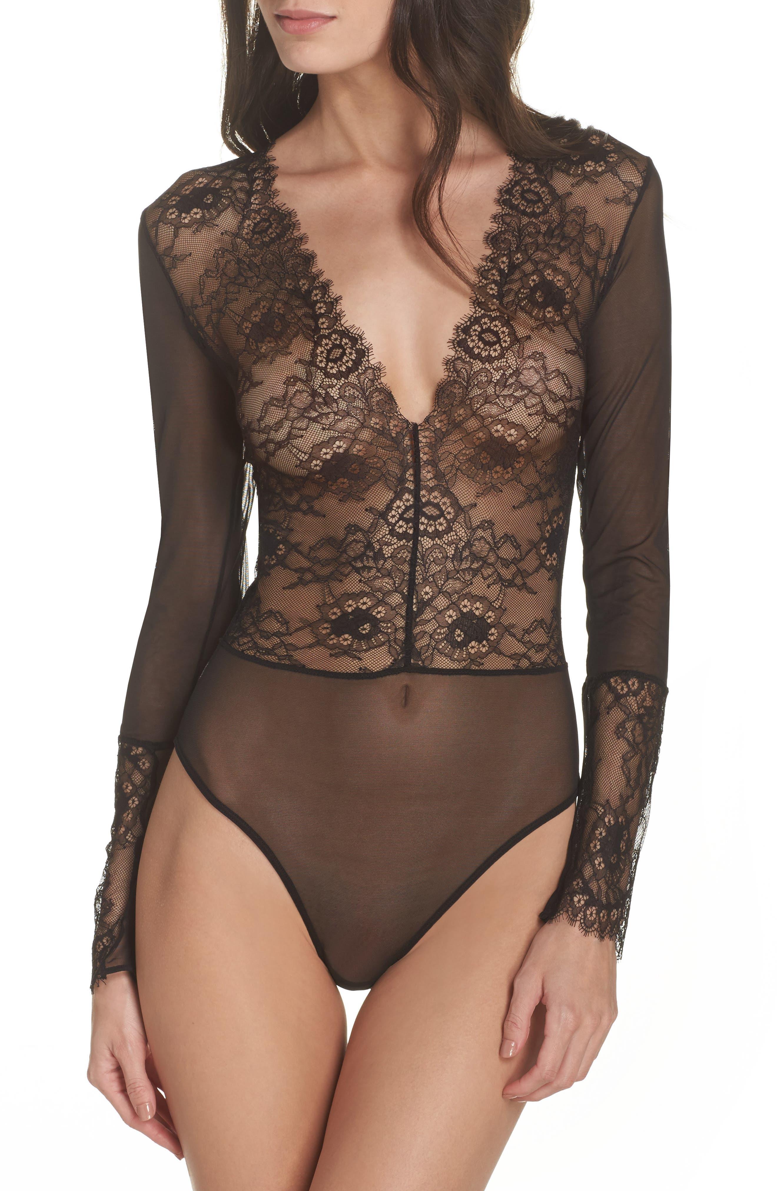 Dossa Lace & Mesh Bodysuit,                             Main thumbnail 1, color,                             Black