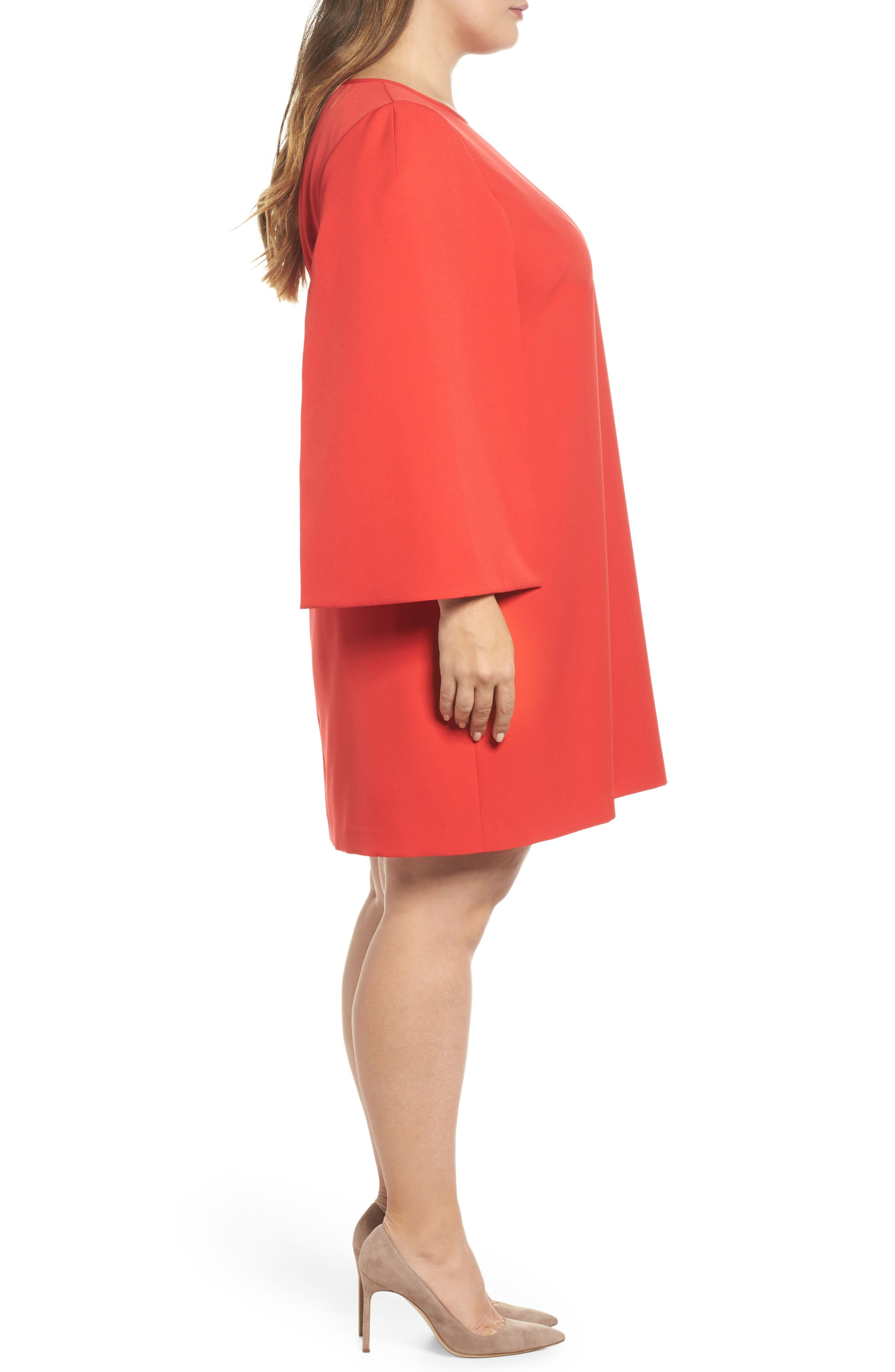 Jewel Neck Cape Sleeve Dress,                             Alternate thumbnail 5, color,                             Red