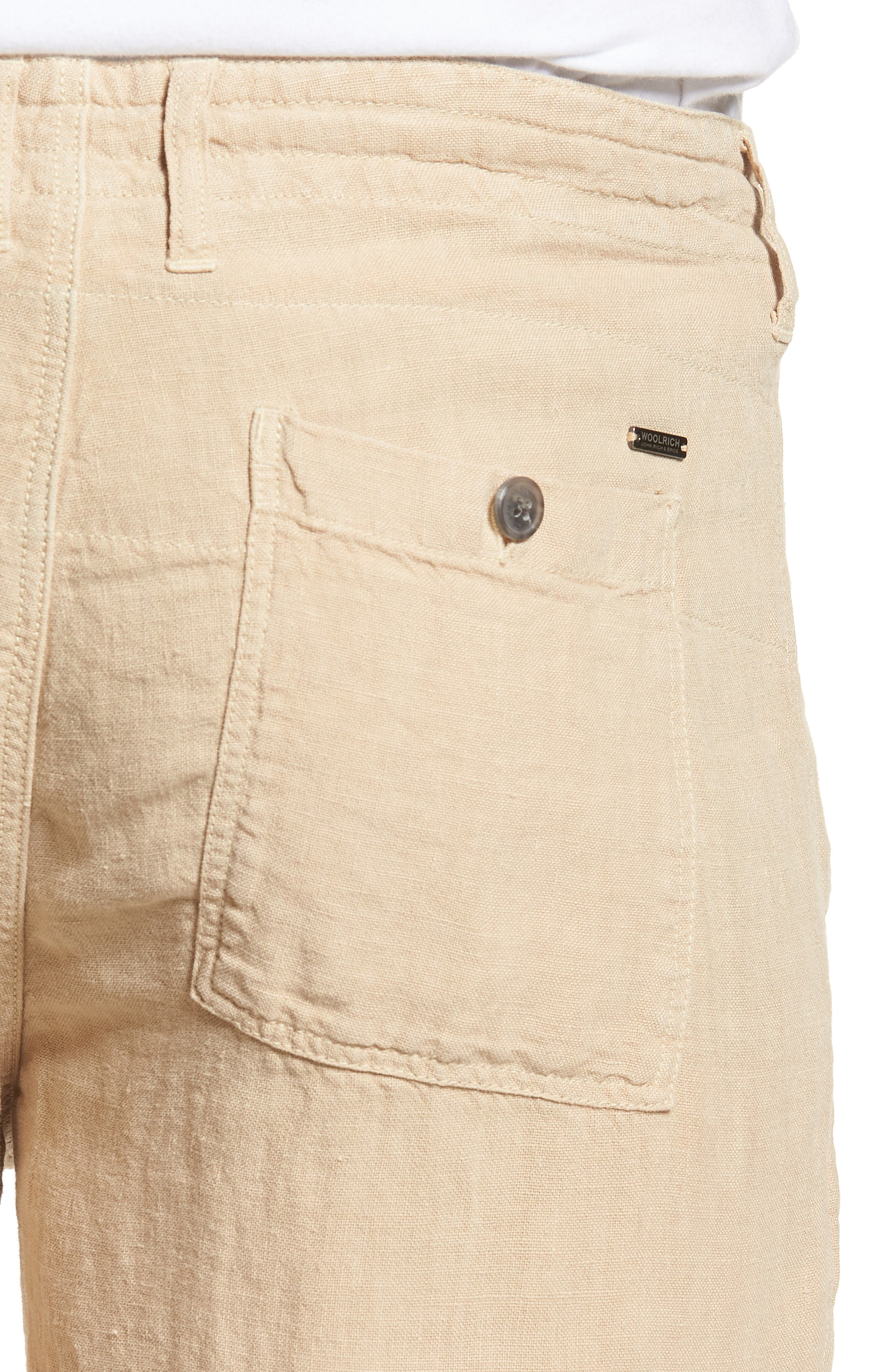 & Bros. Linen Shorts,                             Alternate thumbnail 4, color,                             Desert Dust