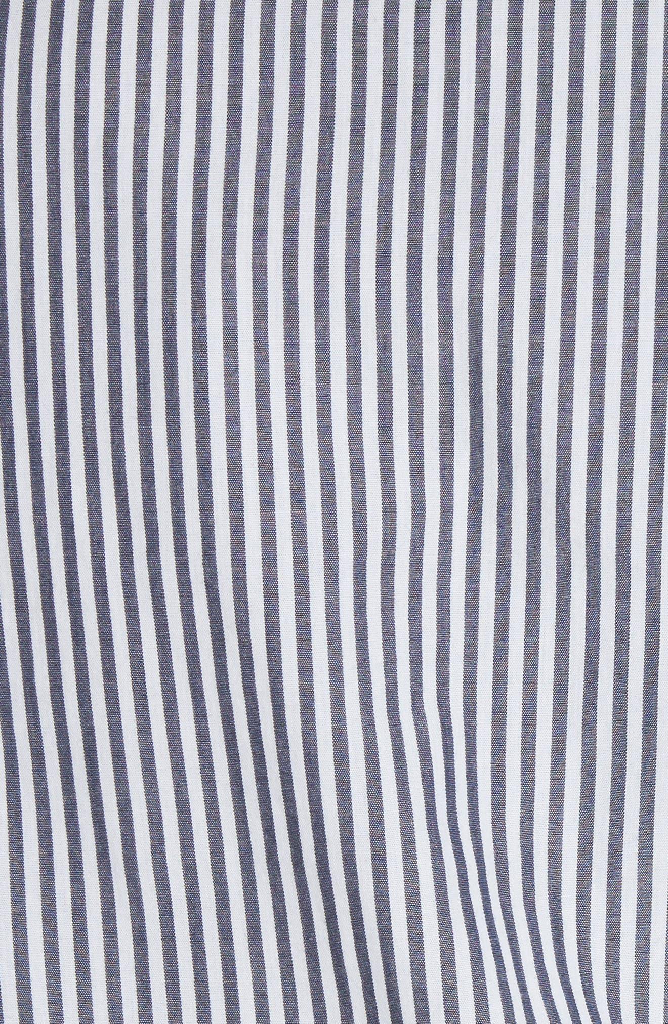 Everett Stripe Shirtdress,                             Alternate thumbnail 5, color,                             Black/ White Stripe
