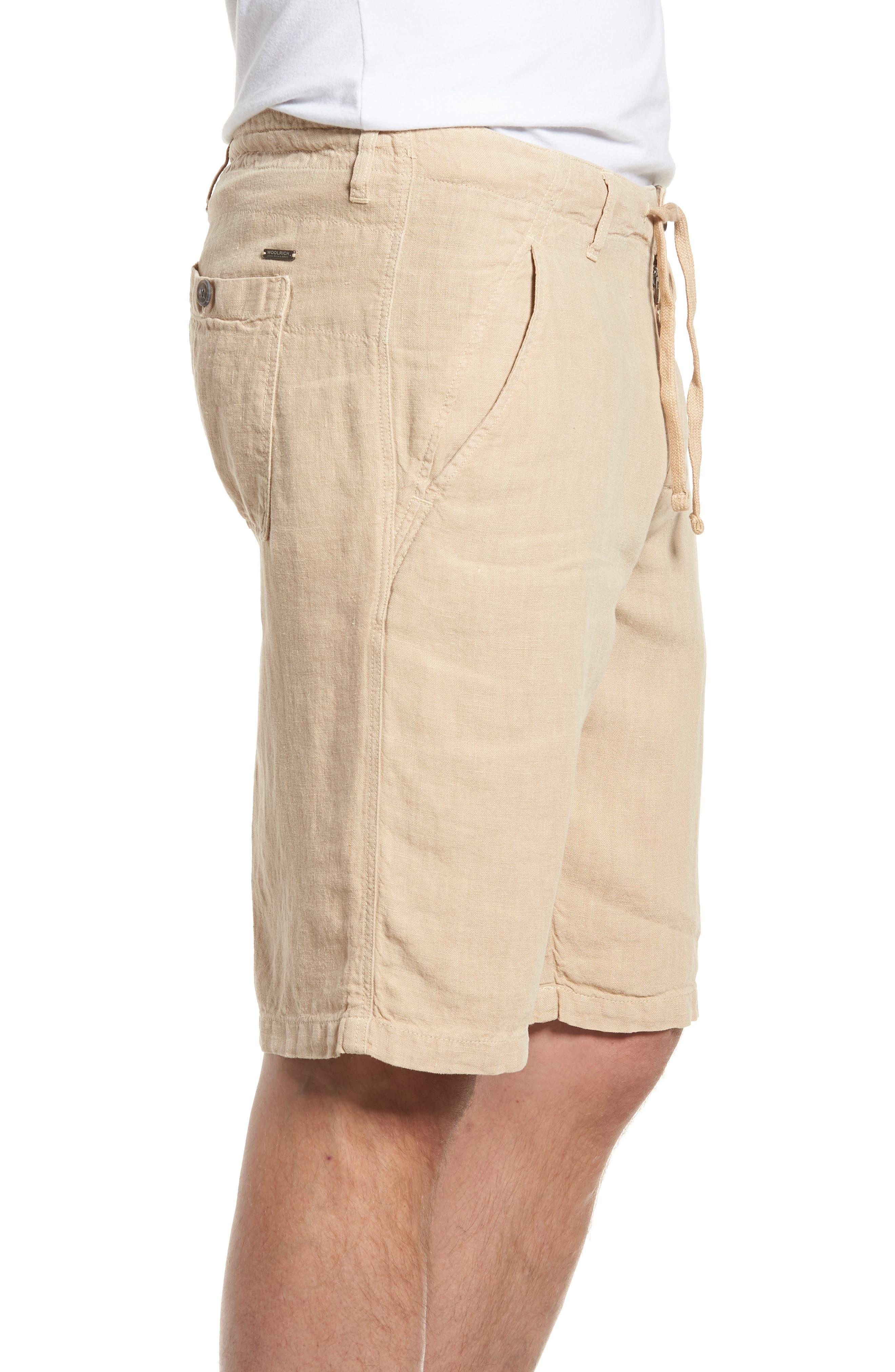 & Bros. Linen Shorts,                             Alternate thumbnail 3, color,                             Desert Dust