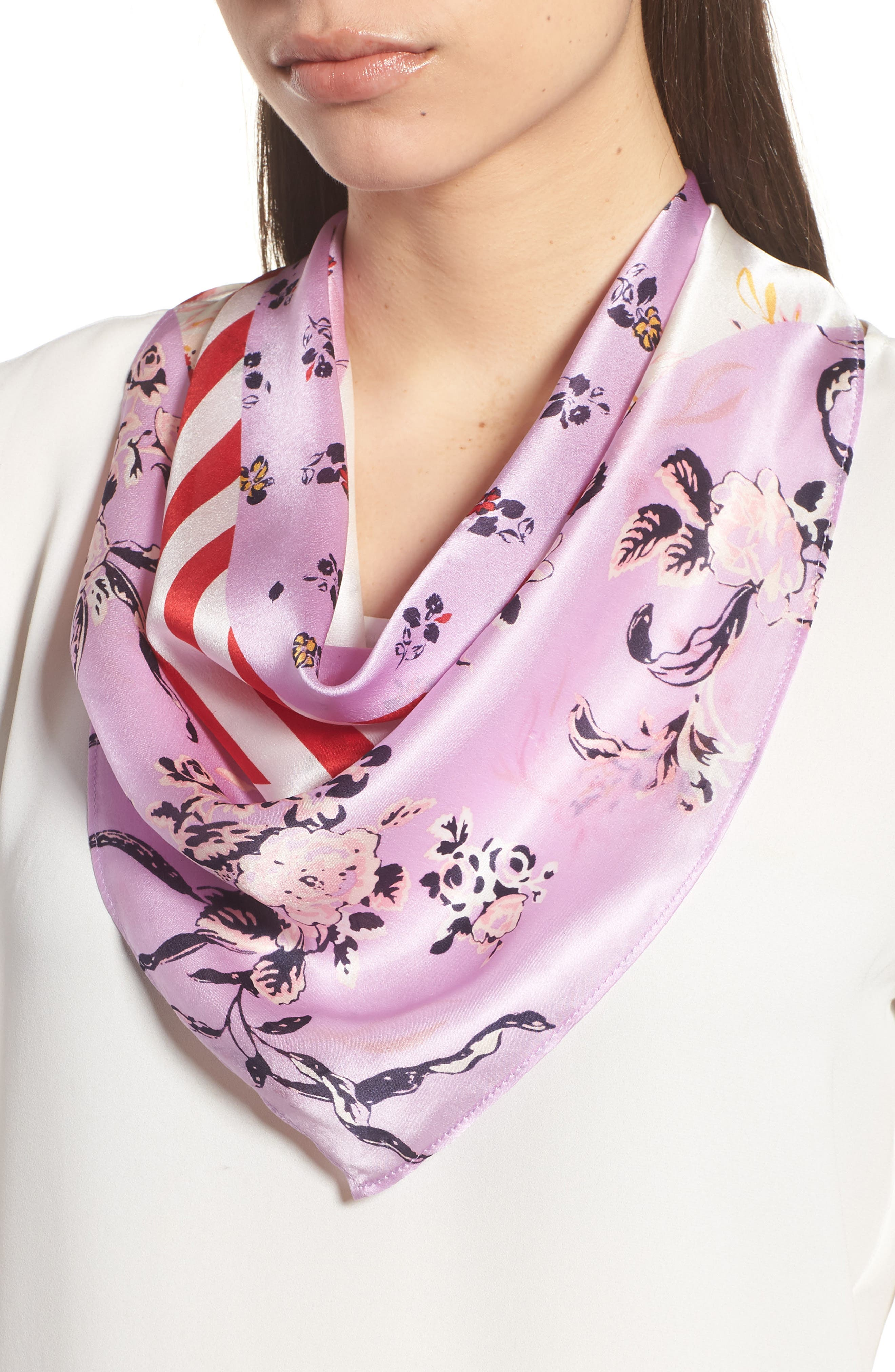 Print Silk Scarf,                             Main thumbnail 1, color,                             Purple Fab Mix Match Print