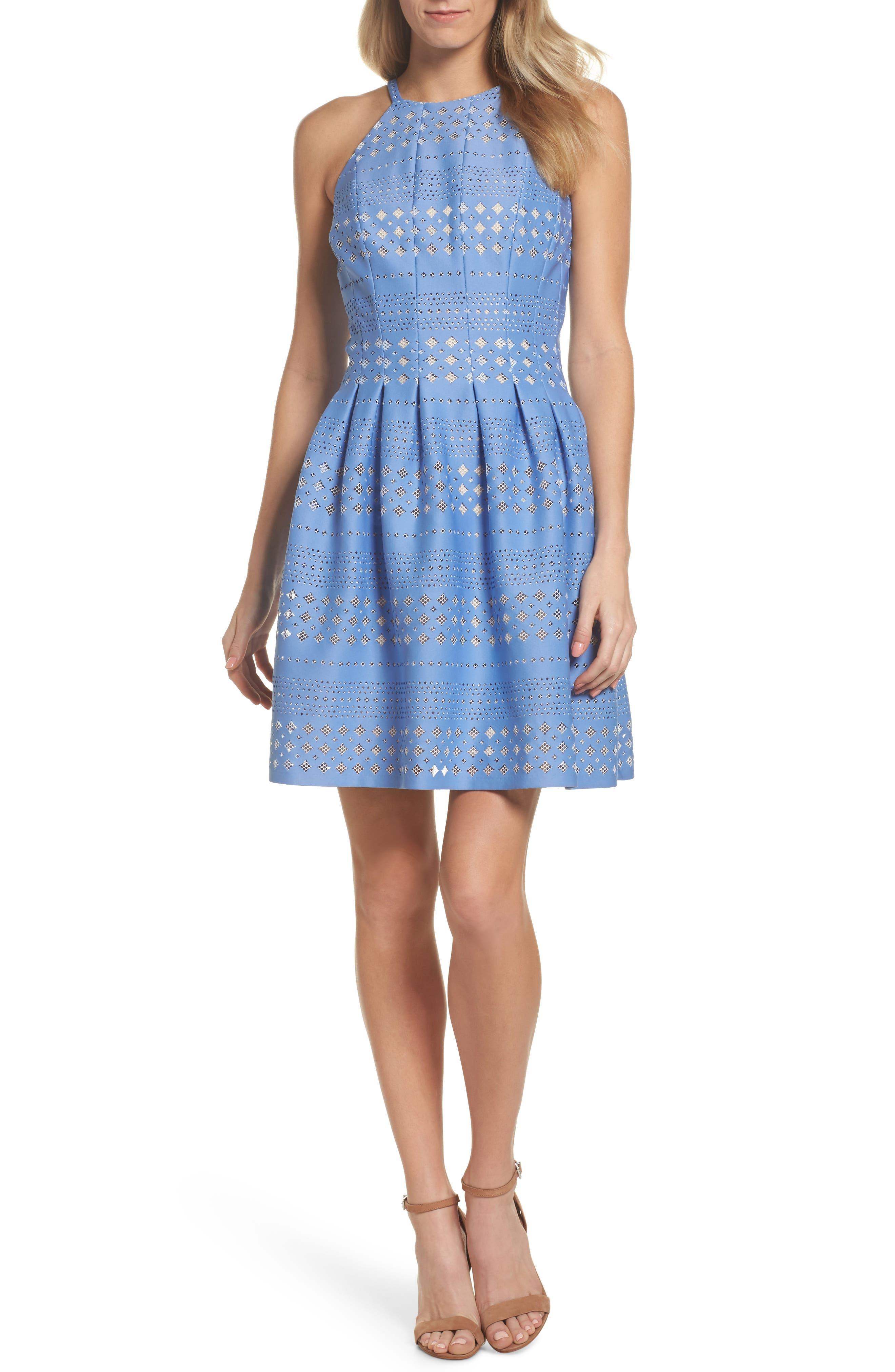 Alternate Image 1 Selected - Eliza J Laser Cut Fit & Flare Halter Dress