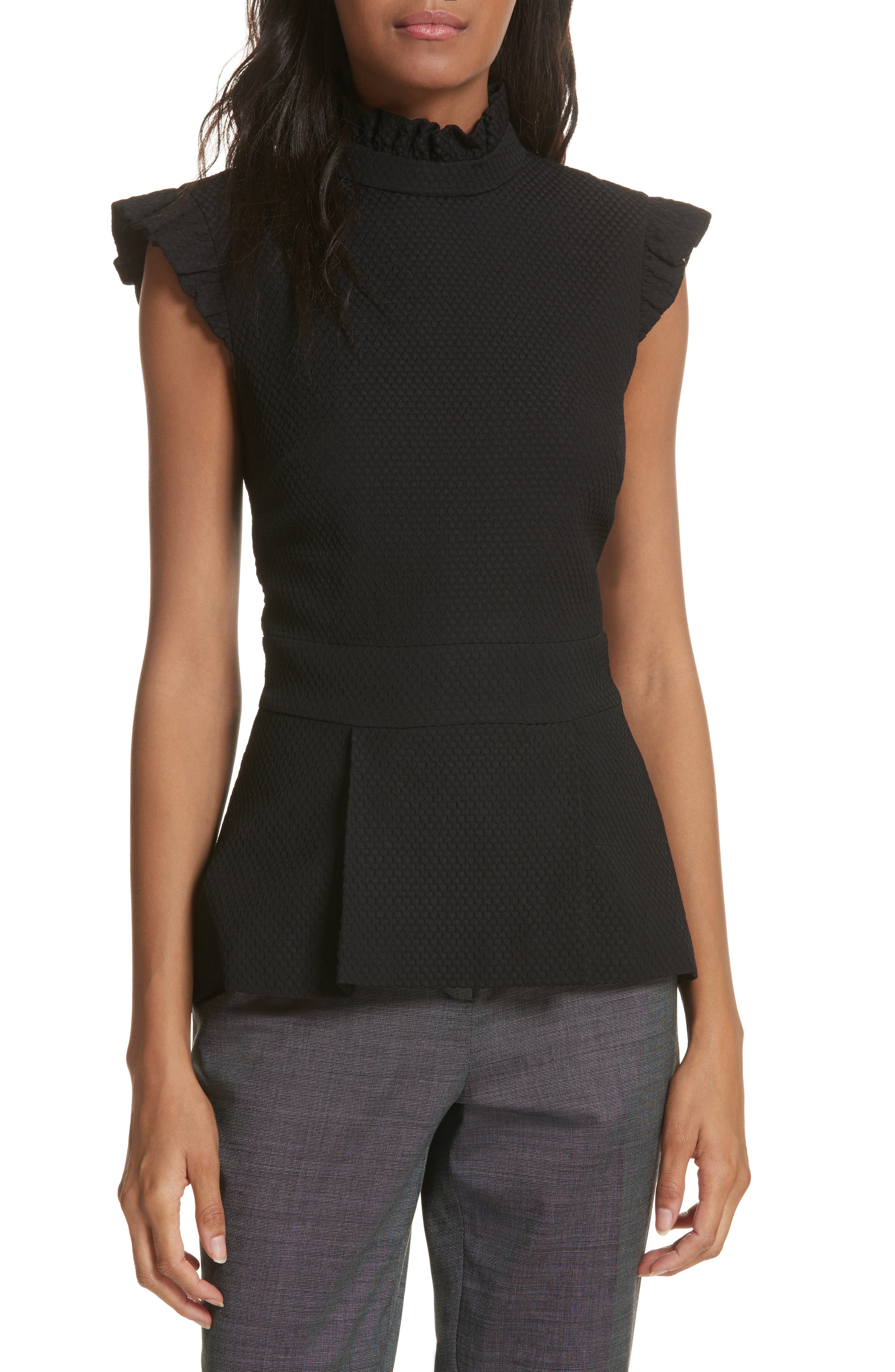 Ruffle Neck Peplum Top,                         Main,                         color, Black
