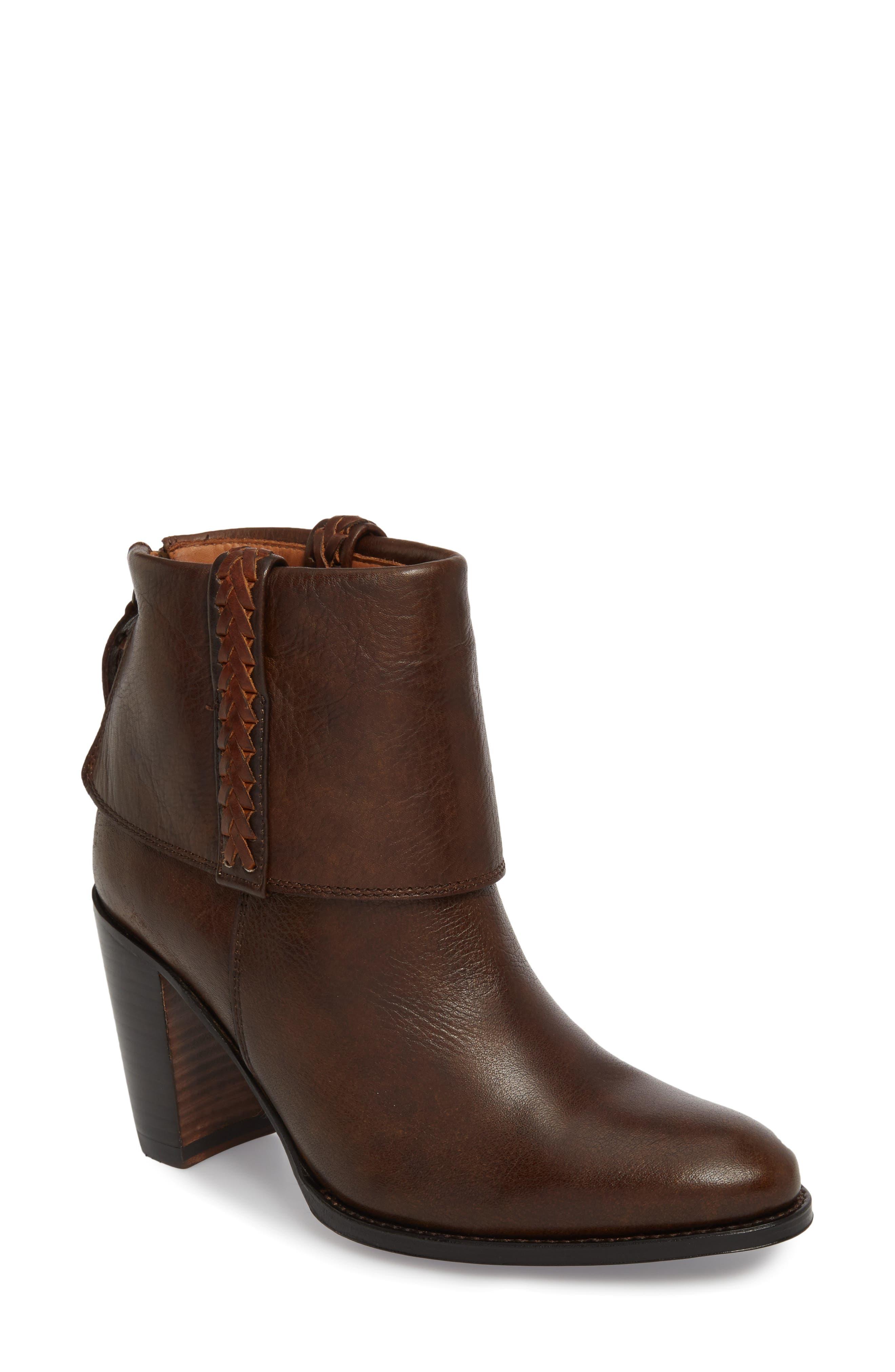 Suances Bootie,                             Main thumbnail 1, color,                             Cognac Leather