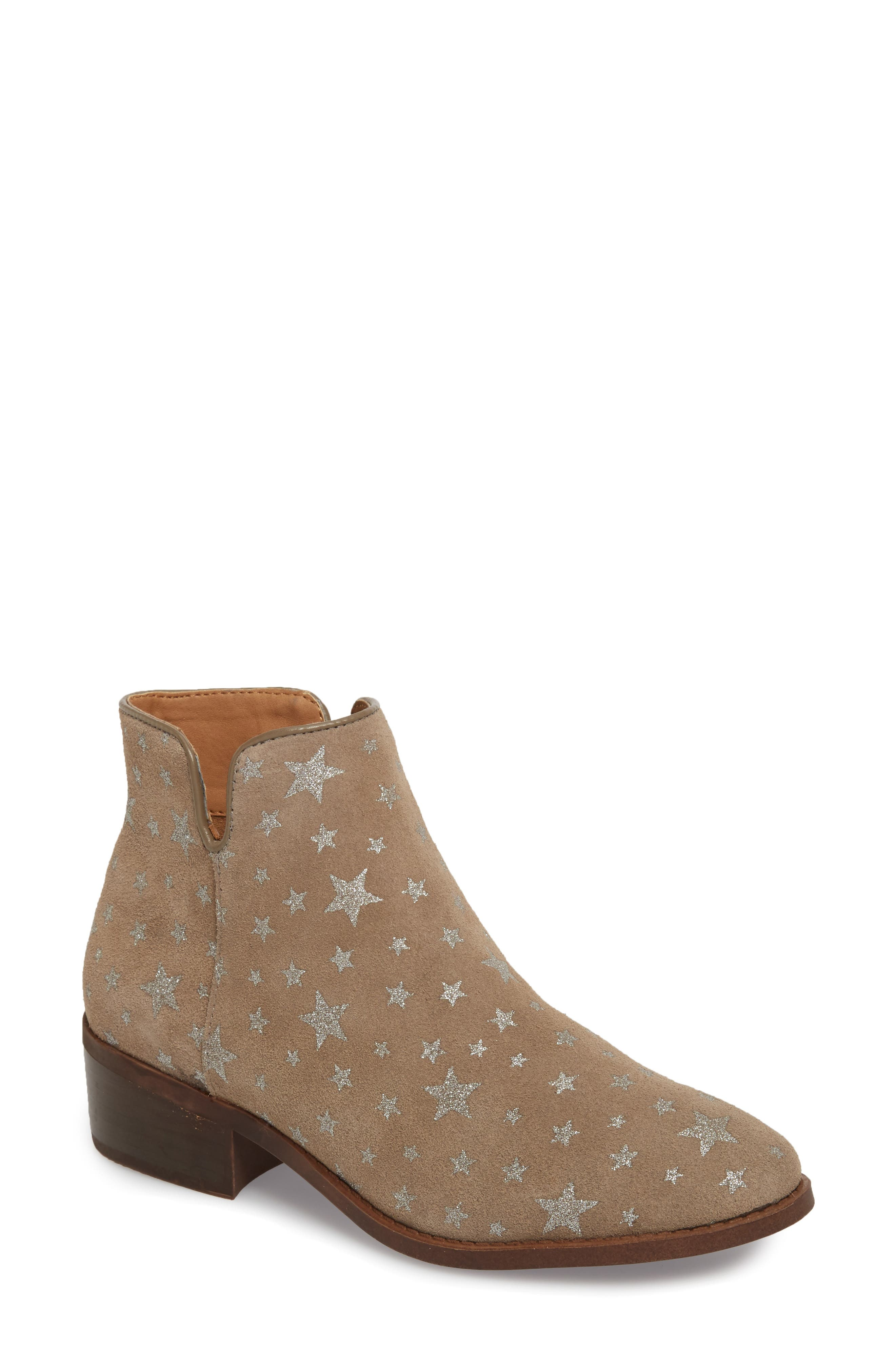 Delila Bootie,                             Main thumbnail 1, color,                             Taupe Multi Suede