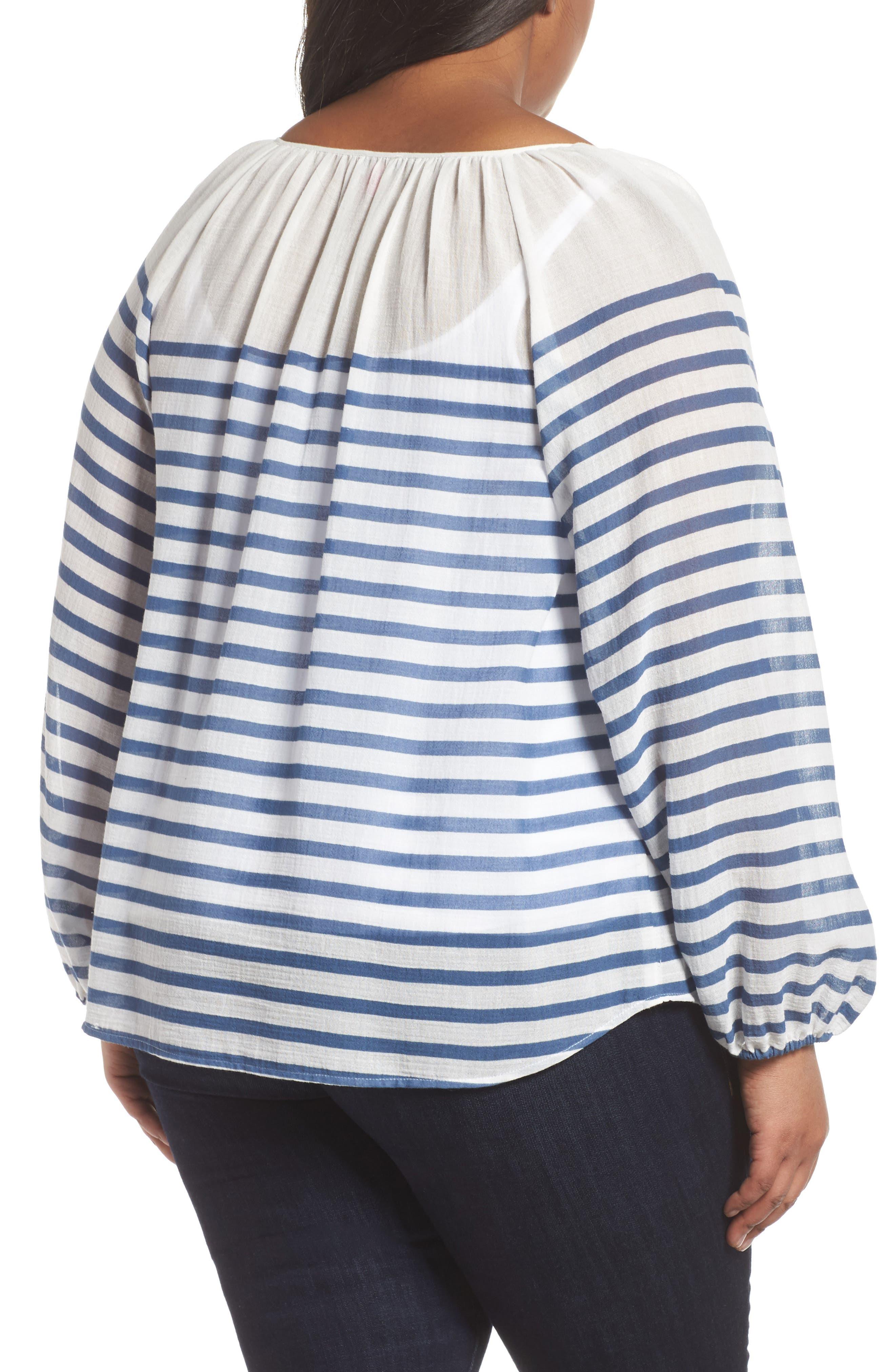 Stripe Peasant Blouse,                             Alternate thumbnail 2, color,                             Patina Blue