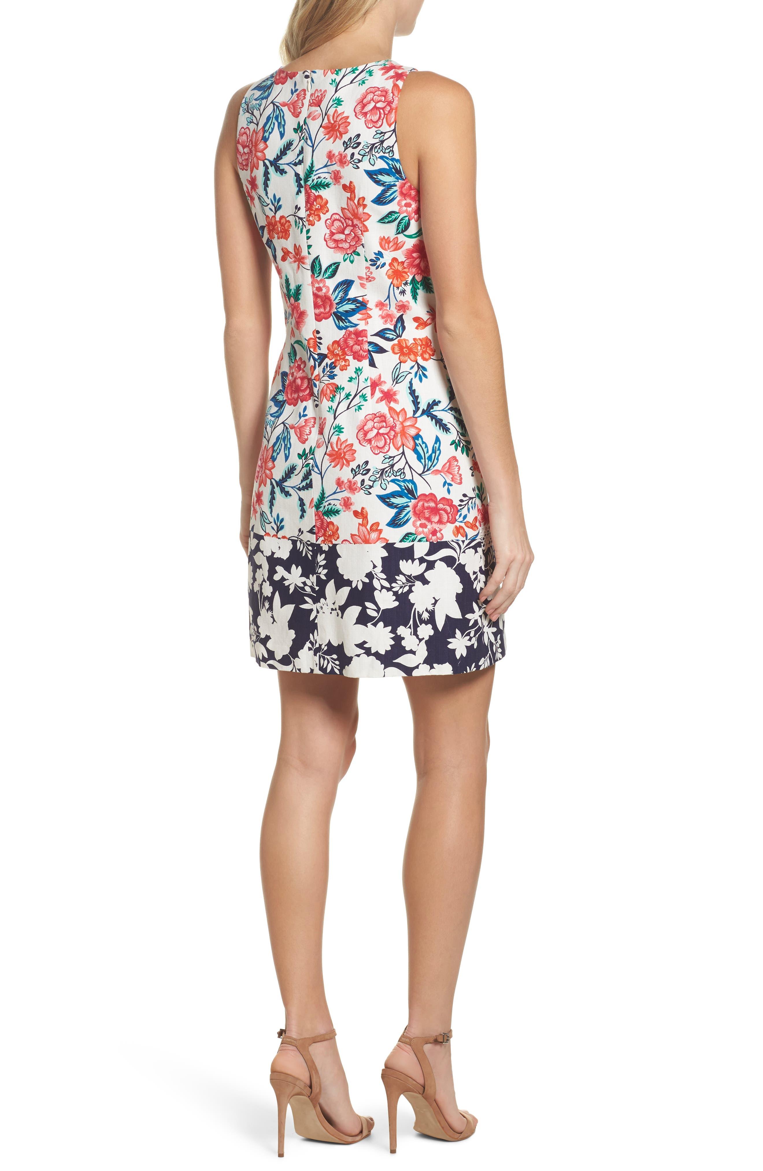 Floral Print Shift Dress,                             Alternate thumbnail 2, color,                             White