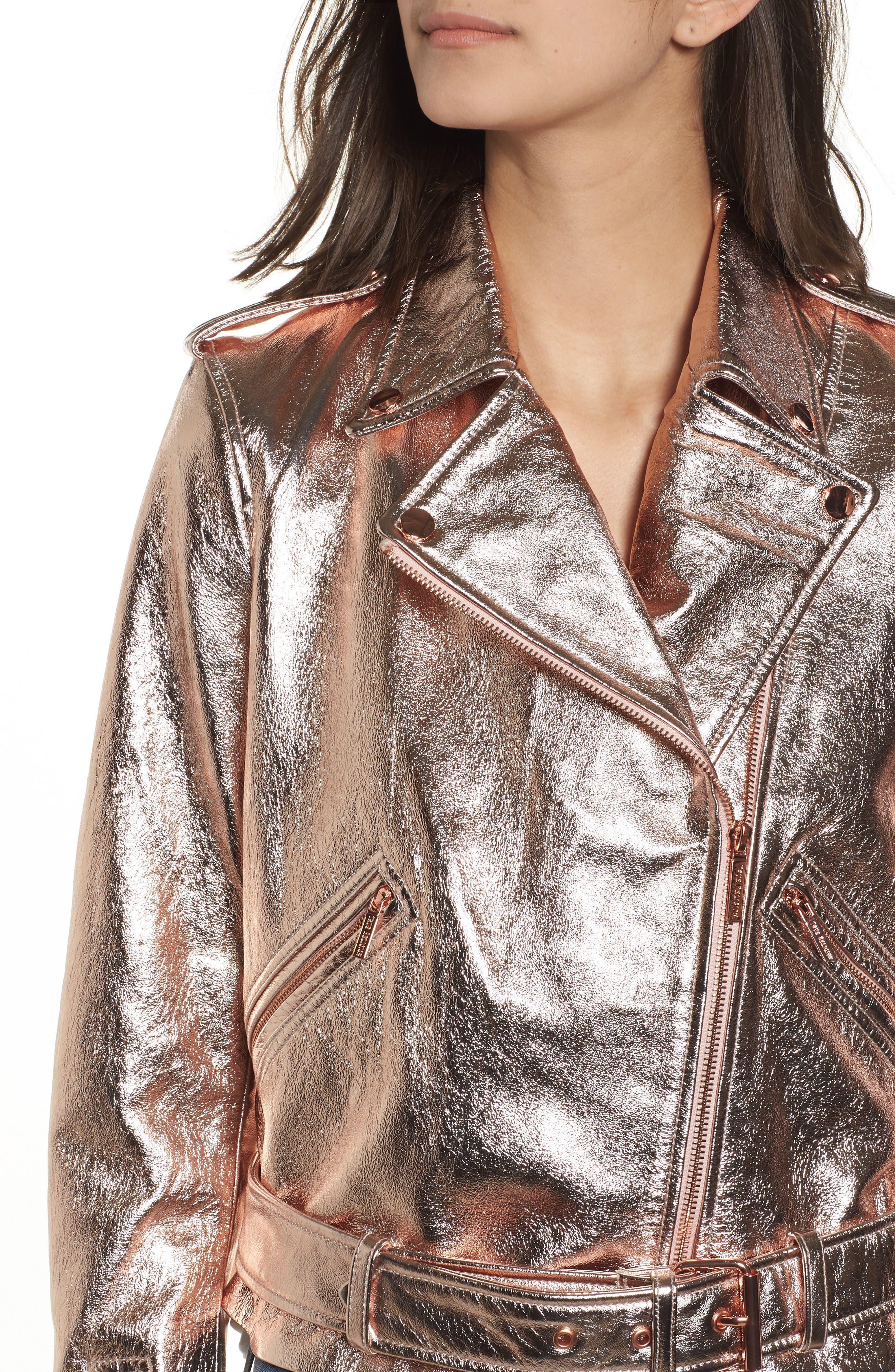 Metallic Leather Moto Jacket,                             Alternate thumbnail 4, color,                             Rose Gold