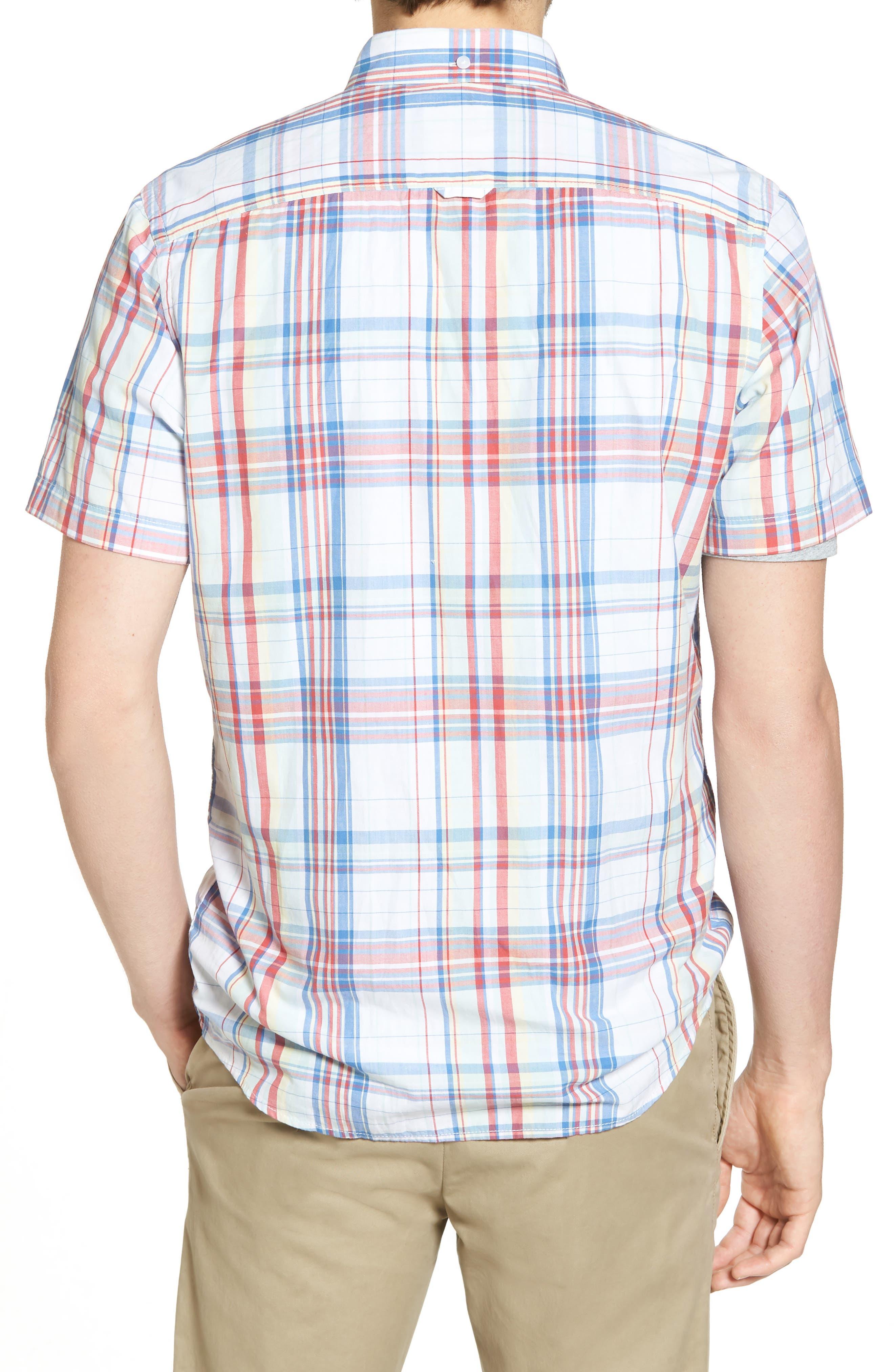 Trim Fit Plaid Short Sleeve Sport Shirt,                             Alternate thumbnail 3, color,                             White Red Multi Plaid