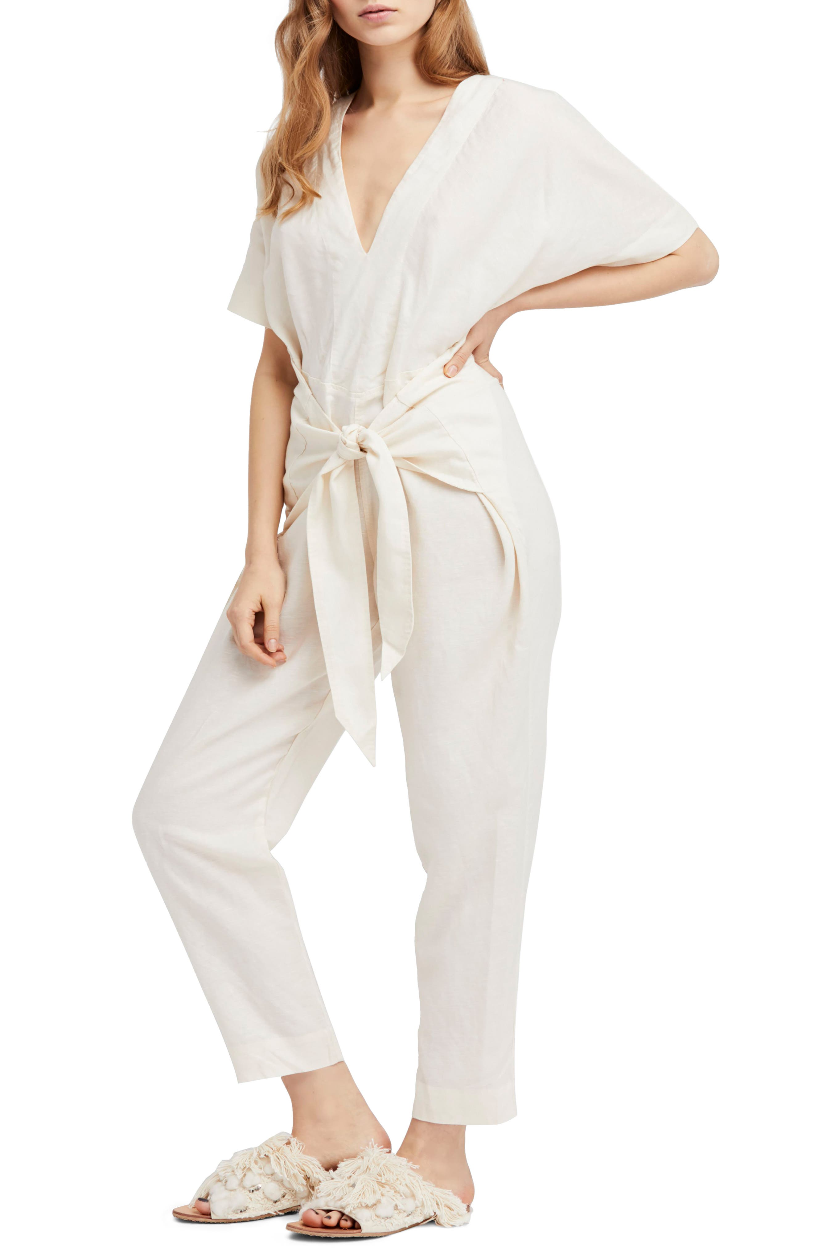 Shining Sun Tie Front Jumpsuit,                             Main thumbnail 1, color,                             Ivory