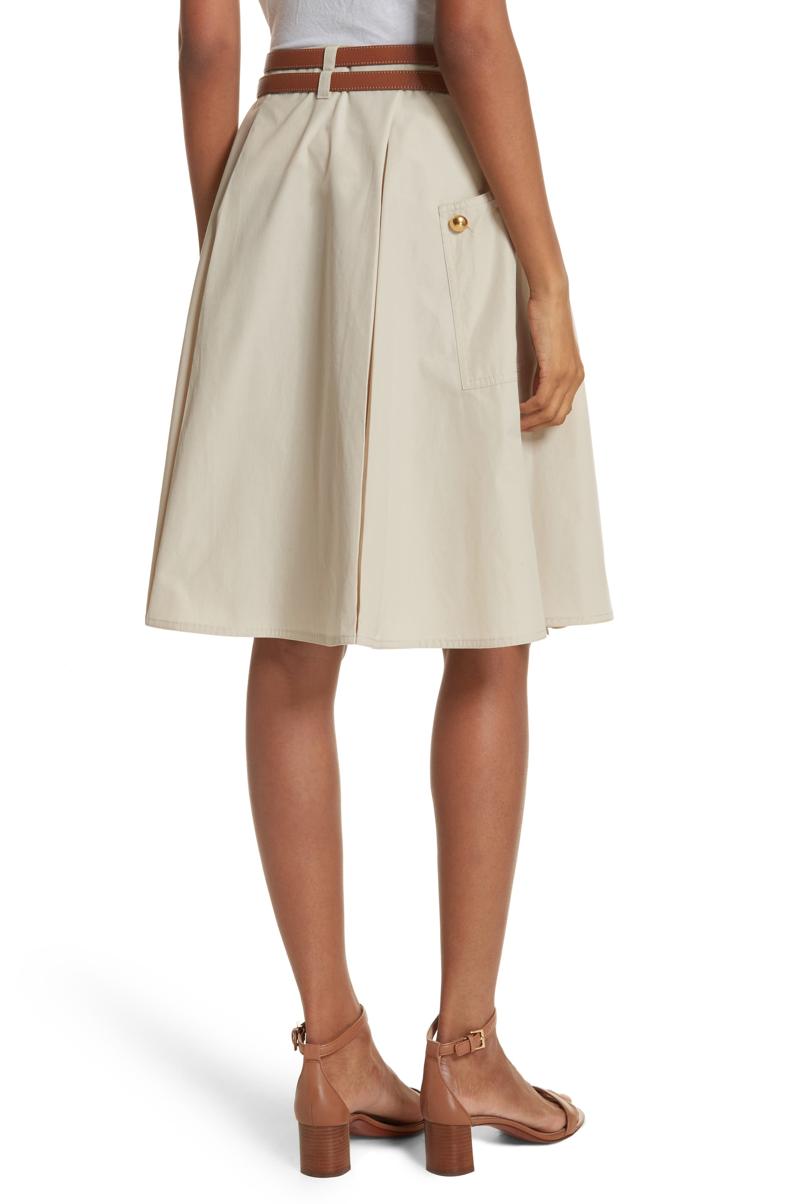 Betsy Belted Flare Skirt,                             Alternate thumbnail 2, color,                             Pale Stone