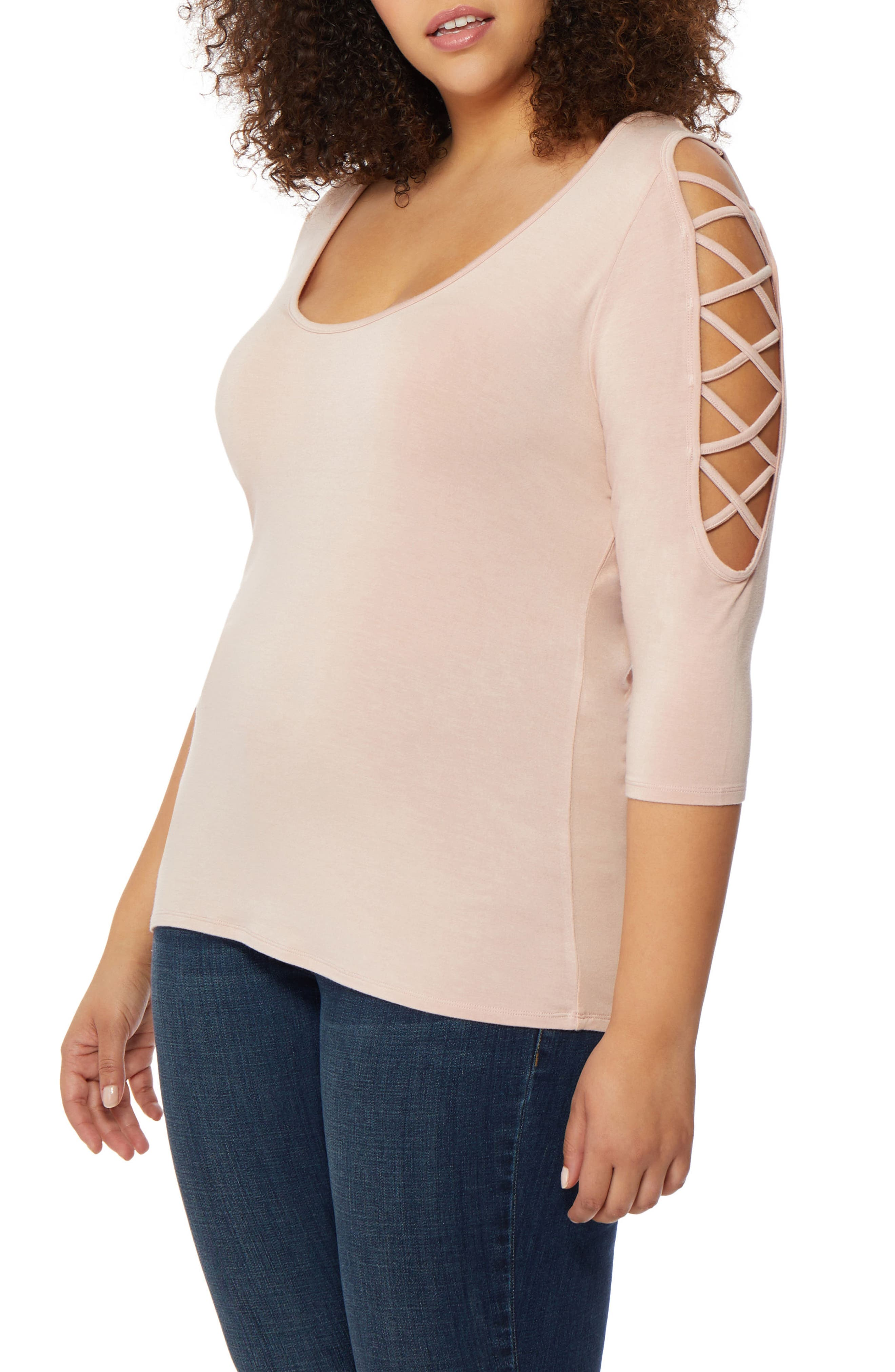 Laced Shoulder Top,                             Alternate thumbnail 4, color,                             Evening Sand