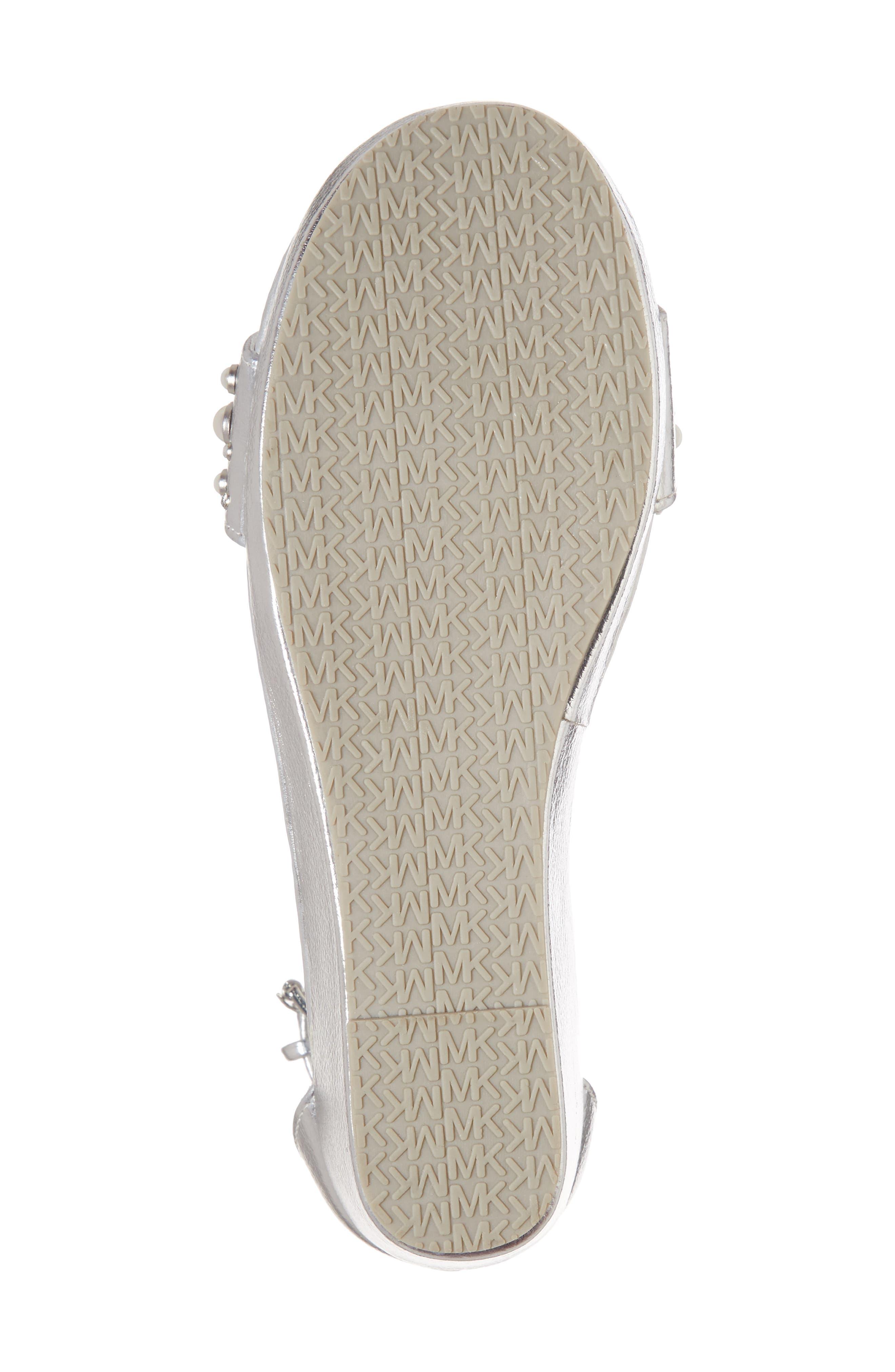 Cate Embellished Wedge Sandal,                             Alternate thumbnail 6, color,                             Silver