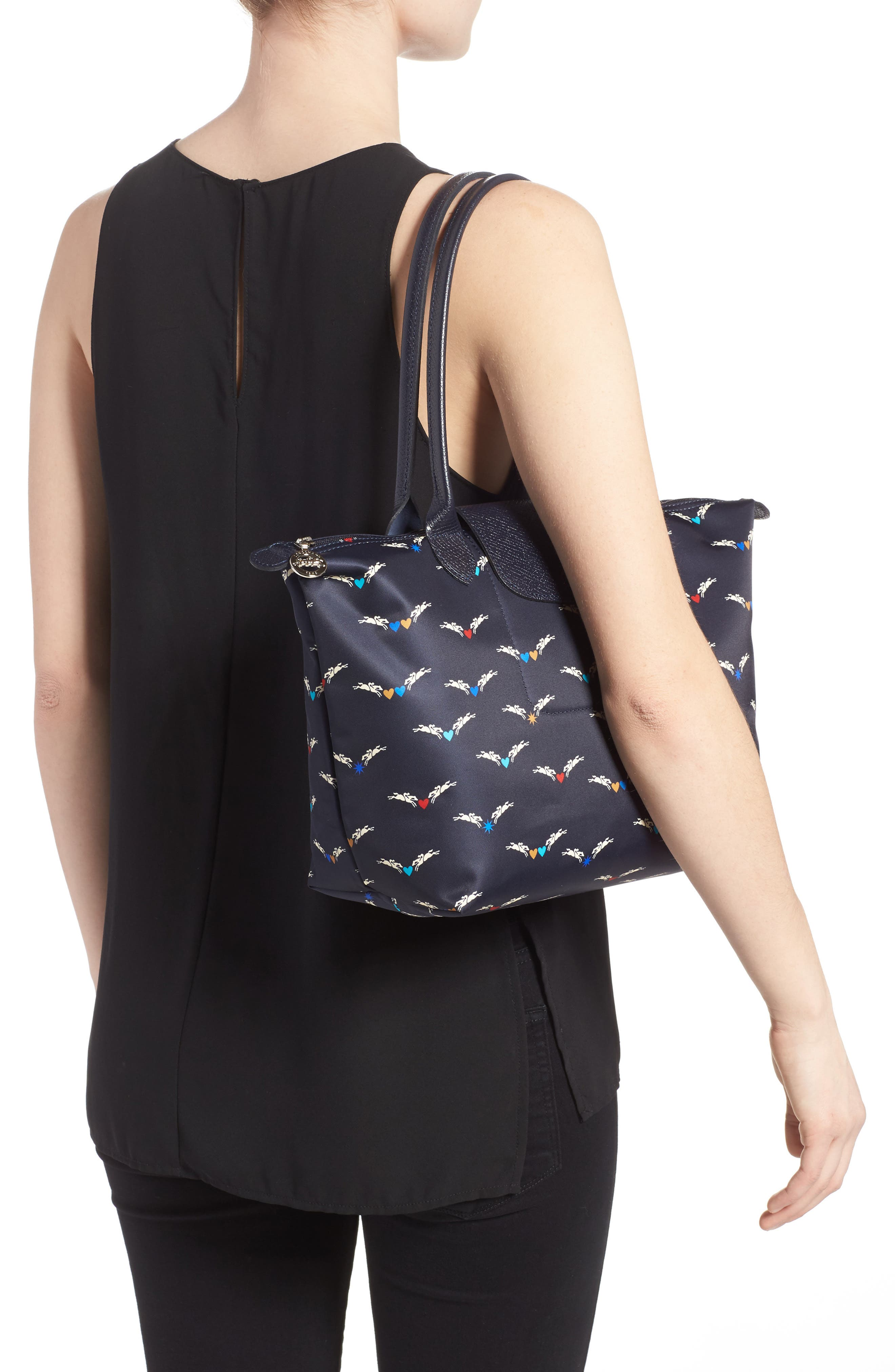Small Le Pliage- Chevaux Tote,                             Alternate thumbnail 2, color,                             Navy
