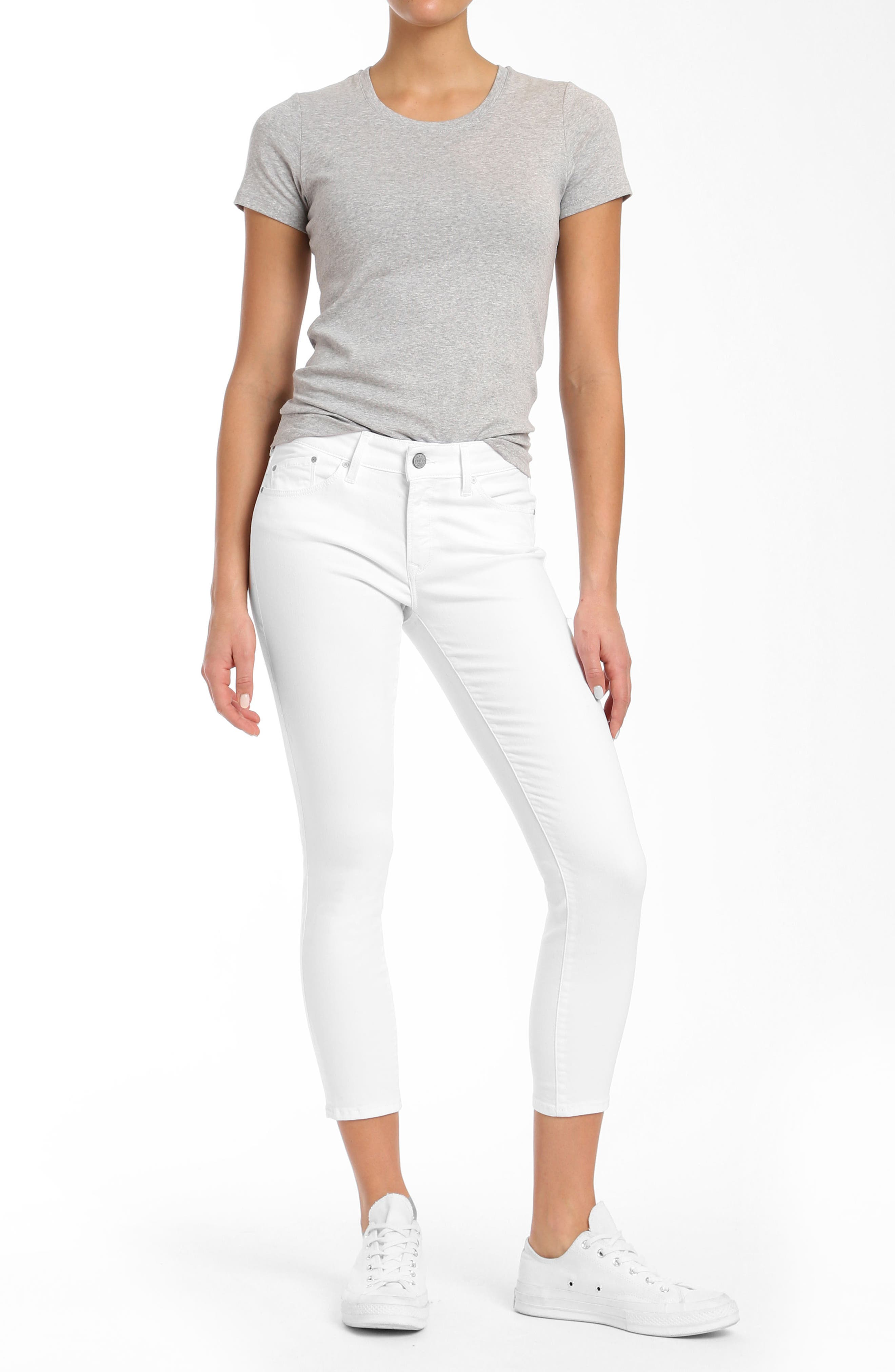 Adriana Ankle Jeans,                             Alternate thumbnail 5, color,                             White Tribeca