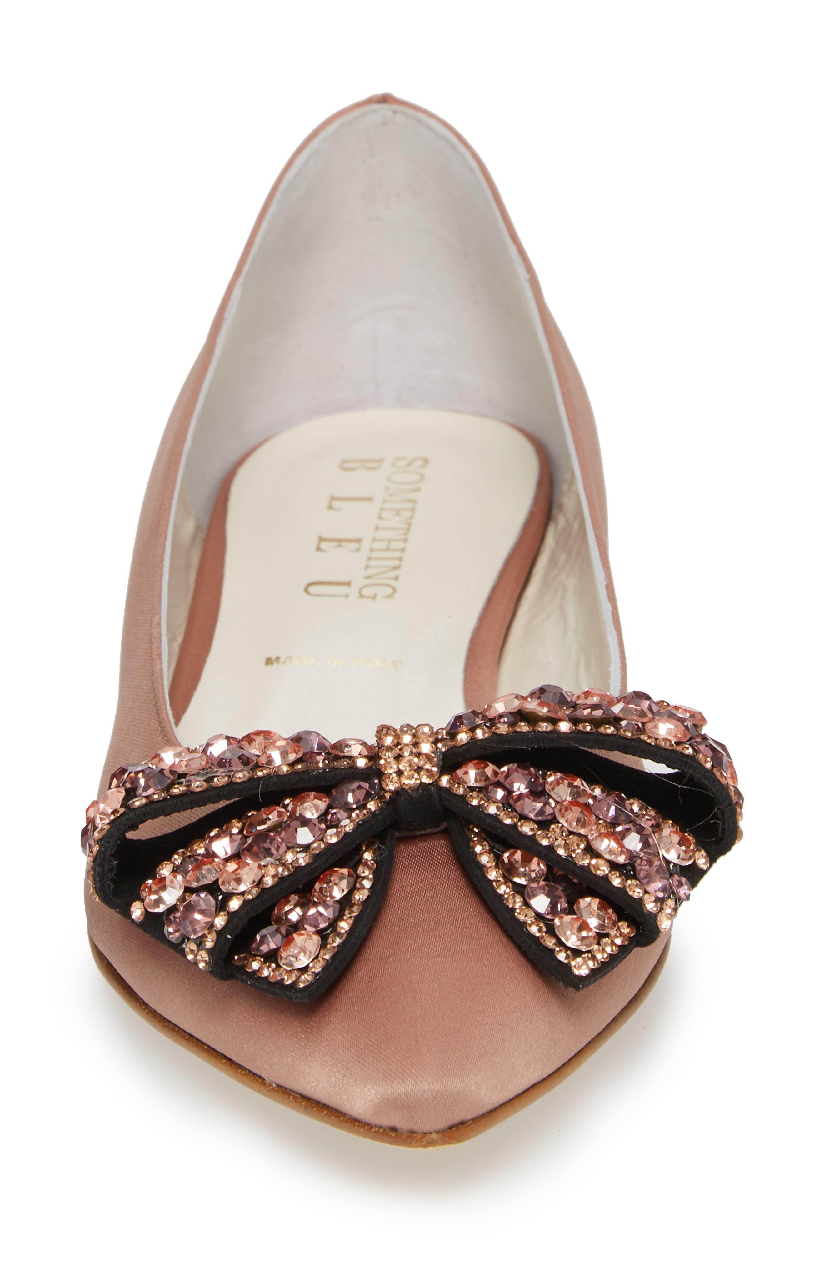 Milva Embellished Bow Pointy Toe Flat,                             Alternate thumbnail 4, color,                             Blush Satin