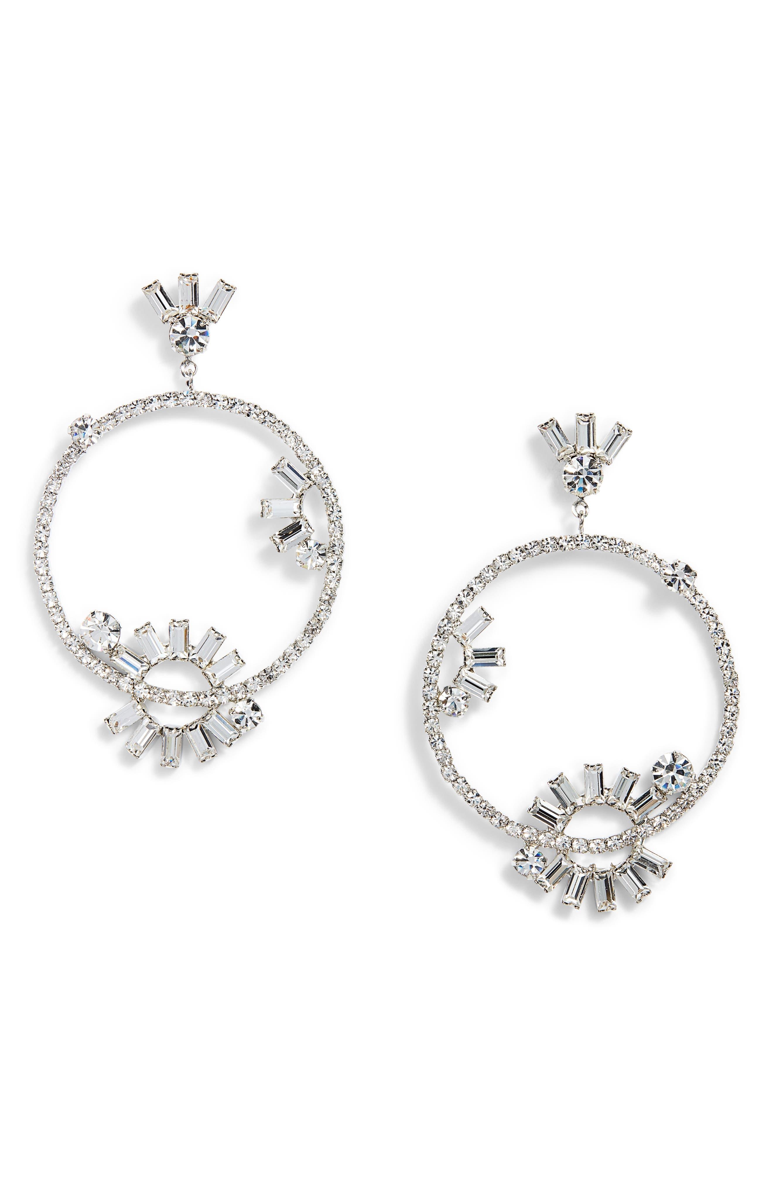 CRISTABELLE Frontal Hoop Drop Earrings